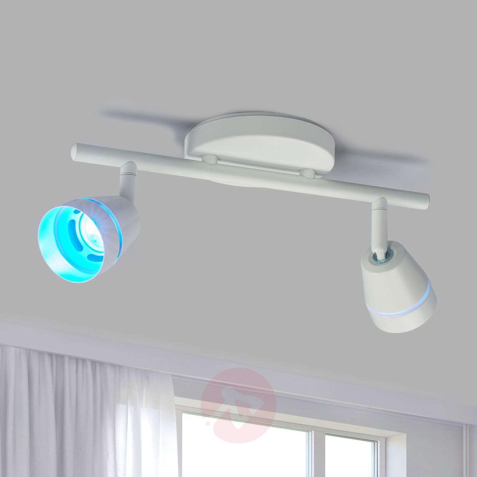 2-lamppu-LED-kattospotti Ivory, kaukosäädinohjaus-9038010-02