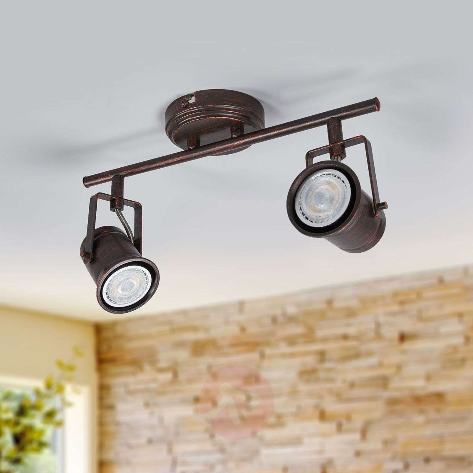 2-lamppuinen Cansu-LED-kattovalaisin, ruskea-kulta-9639073-01