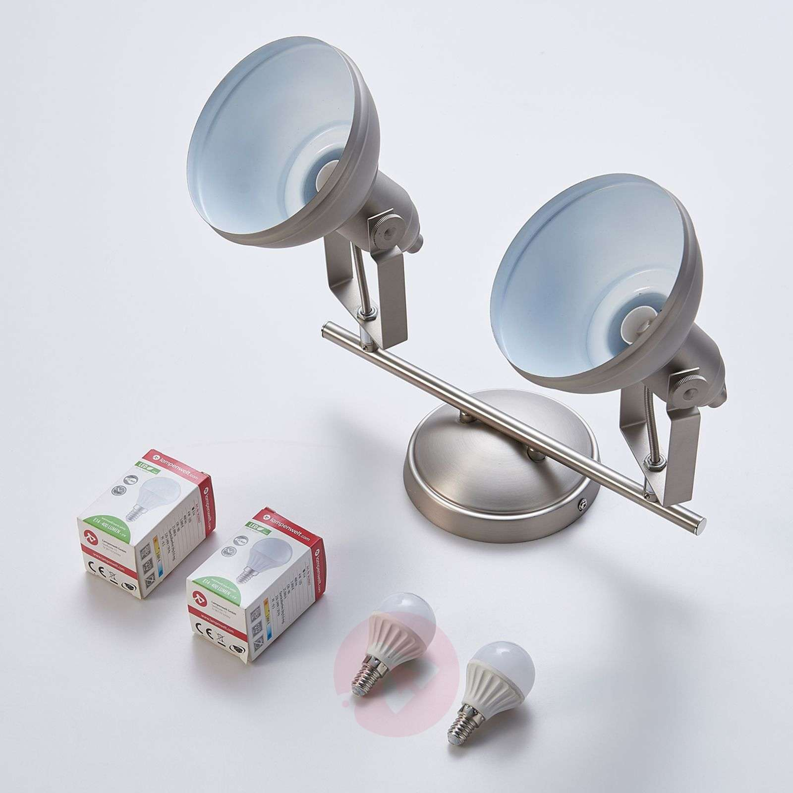 2-lamppuinen LED-kohdevalo Tameo, mattanikkeli-9621021-01
