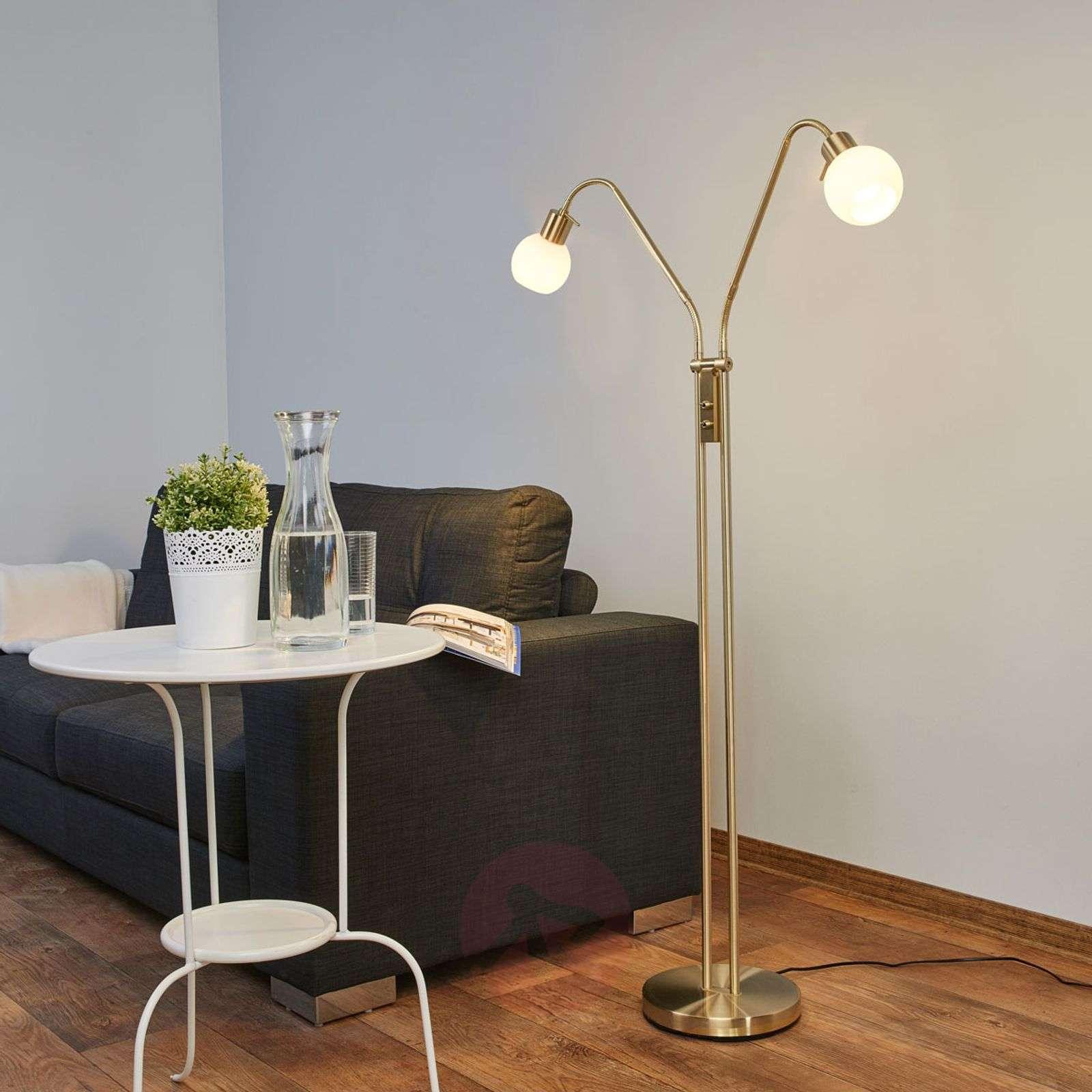2-lamppuinen LED-lattiavalaisin Elaina, messinki-9620015-01