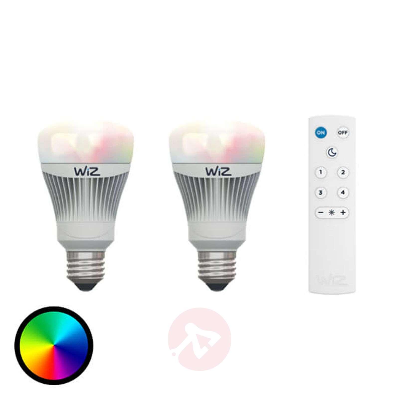 2 x LED-lamppu E27 WiZ, kaukosäätö, RGB + valk.-9038079-01