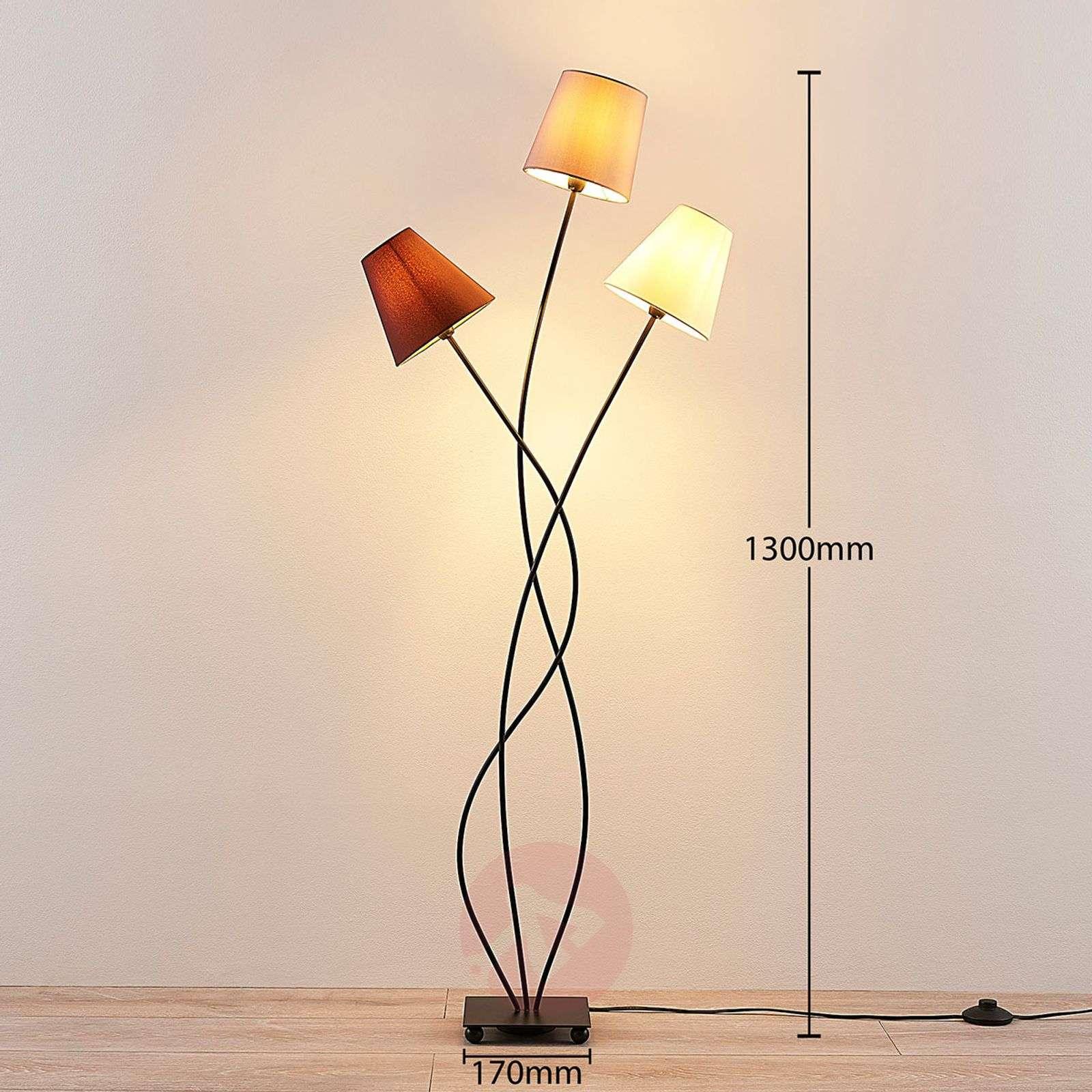 3-lamppuinen lattiavalaisin Melis kangasvarjostin-9624022-02
