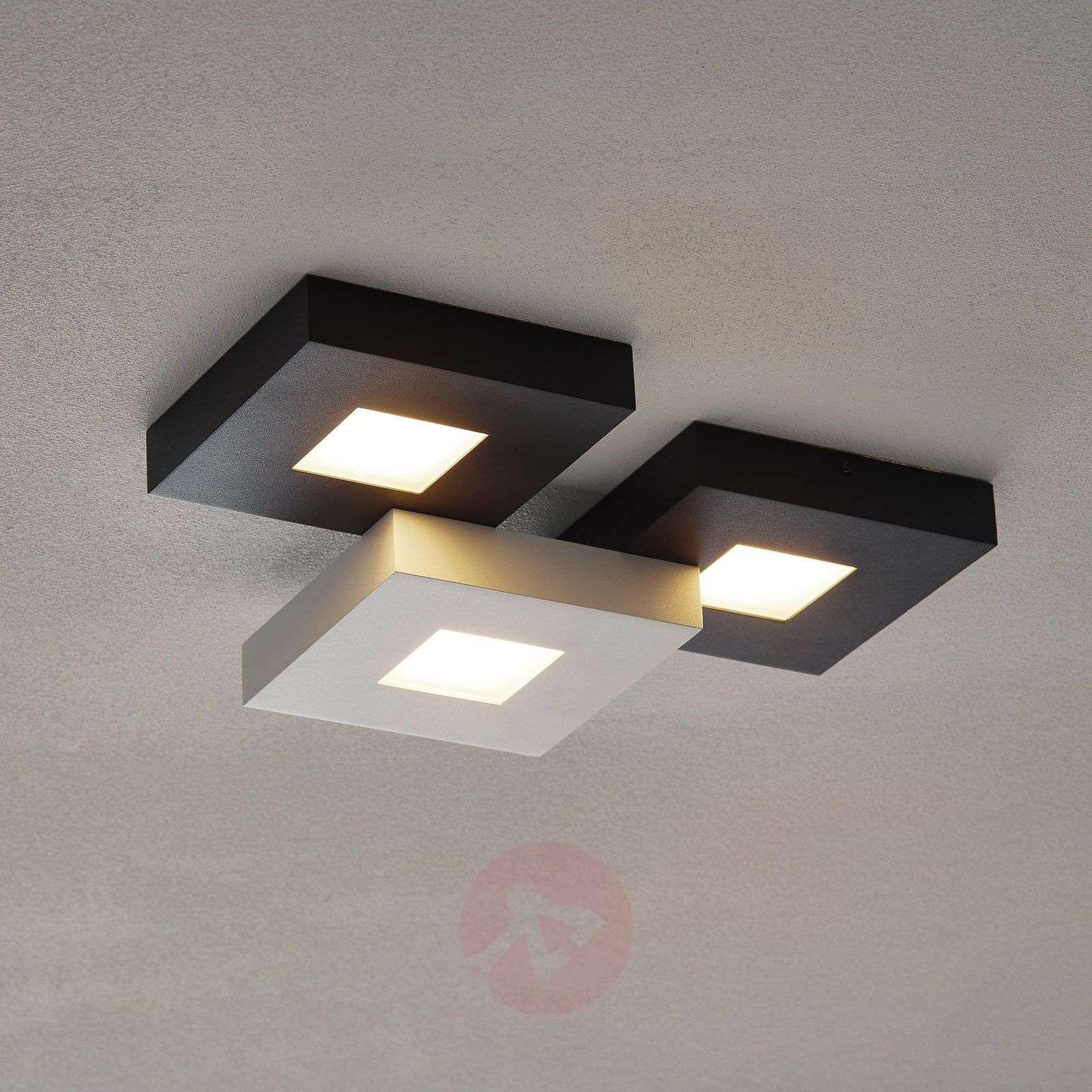 3-lamppuinen LED-kattovalaisin Cubus, mustavalk.-1556075-01