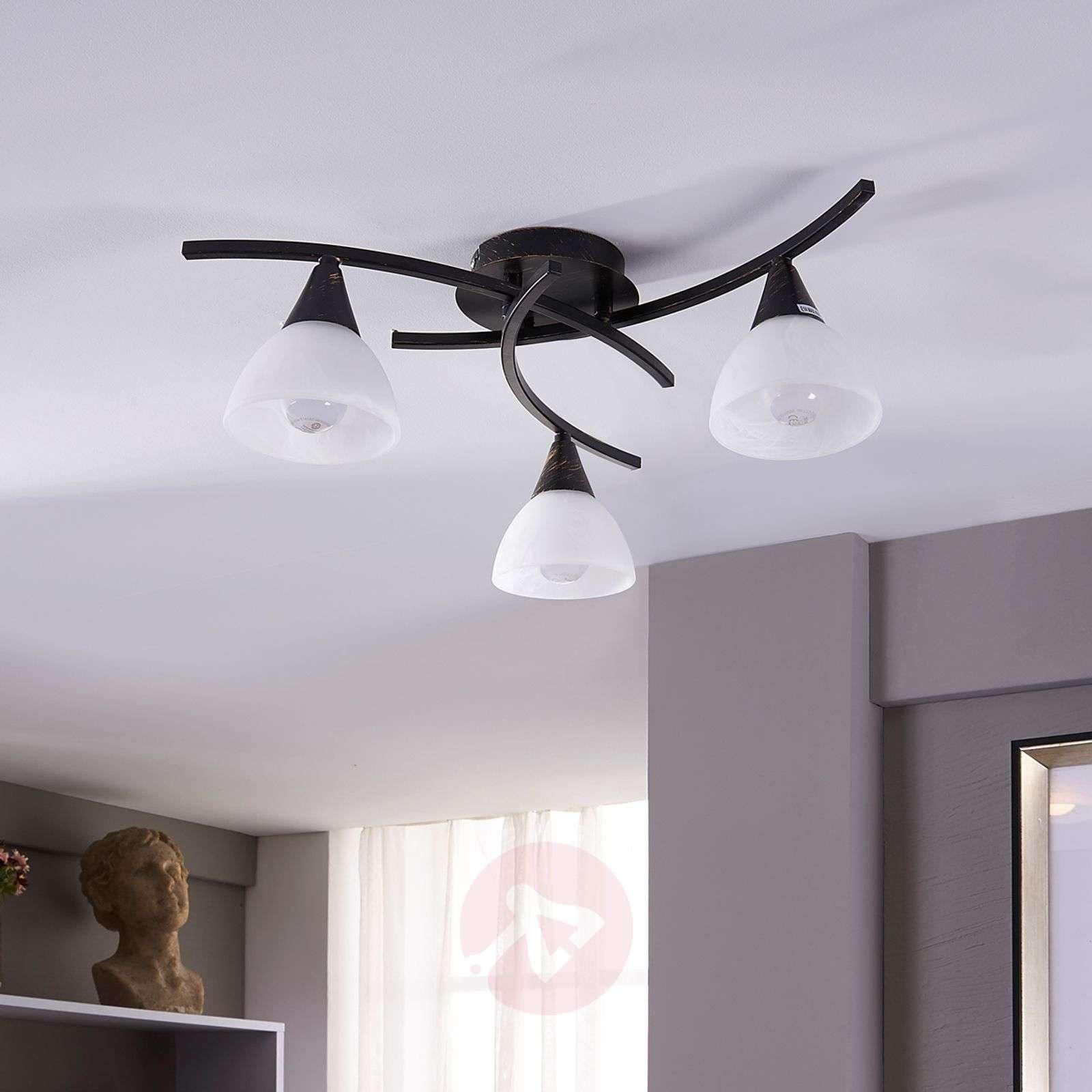 3-lamppuinen LED-kattovalaisin Della, musta-kulta-9620970-01