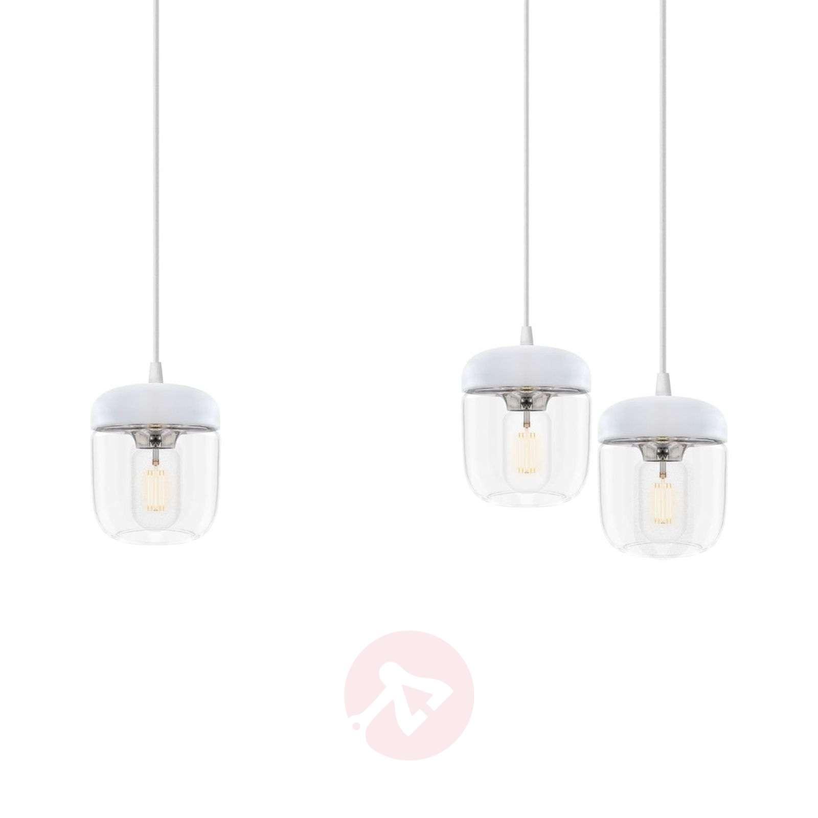 3-lamppuinen riippuvalaisin Acorn valkoinen, teräs-9521093-01