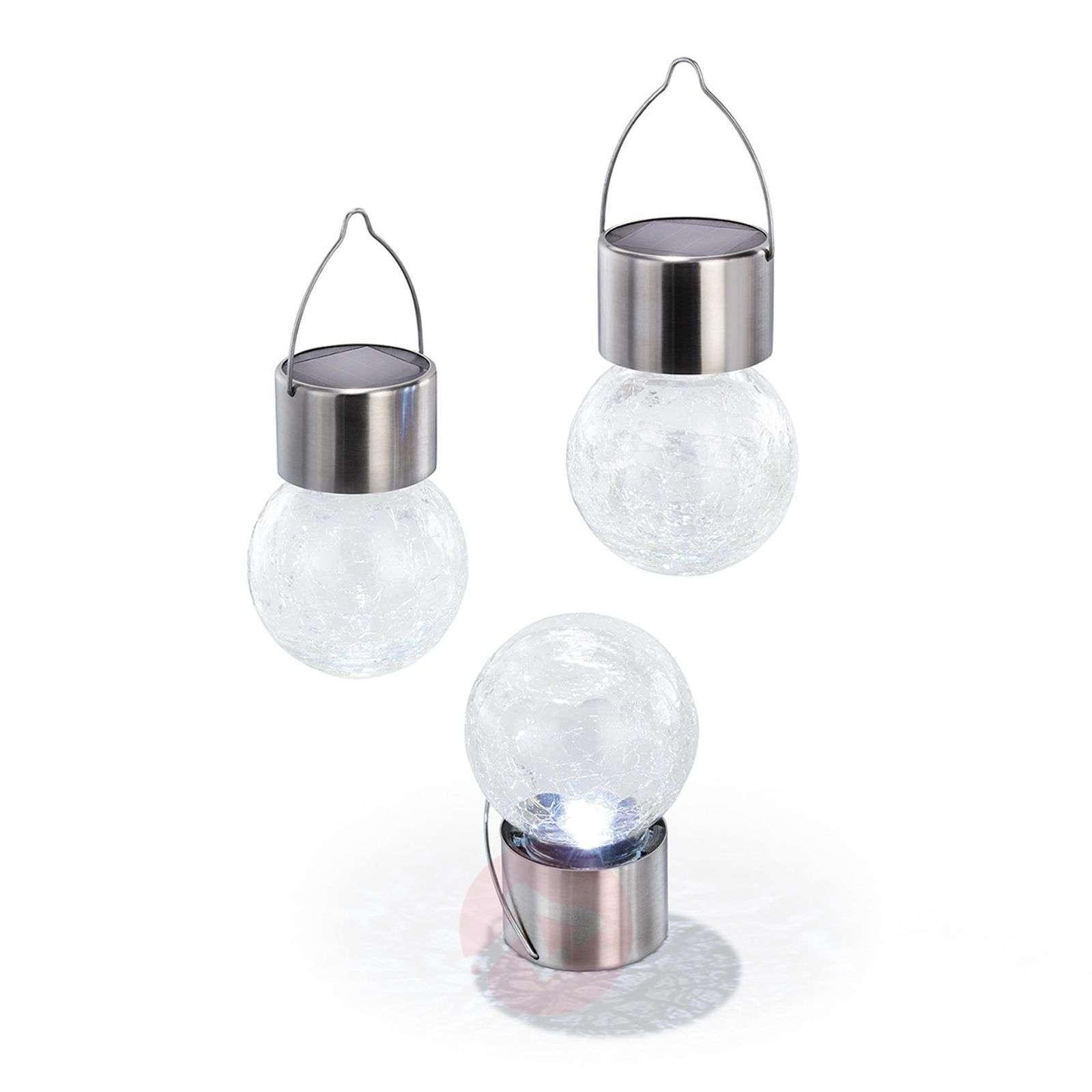 3-os. LED-aurinkokennovalaisinsetti Crackle Ball-3012536-01