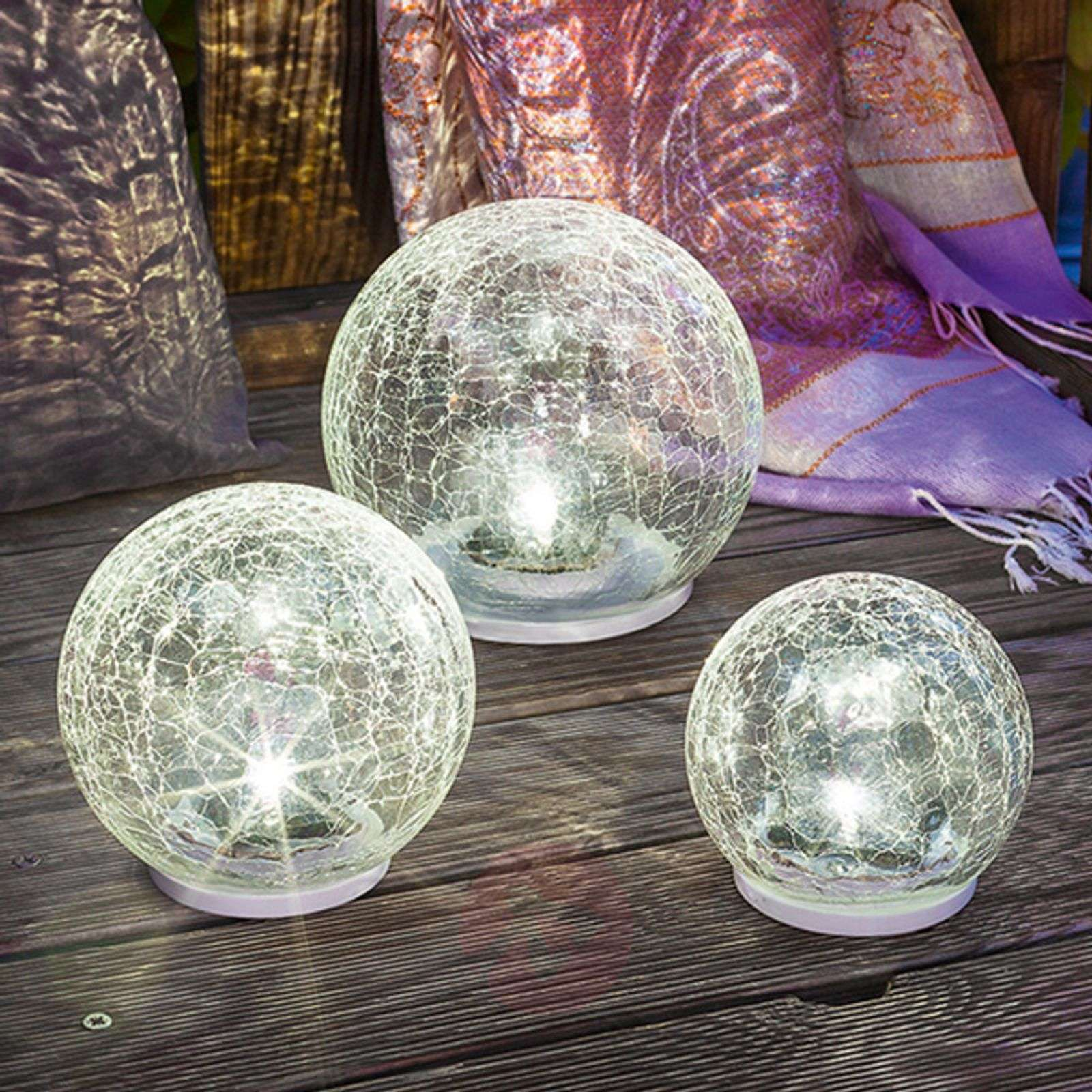 3-os. LED-aurinkokennovalaisinsetti Crackle Ball-3012538-01