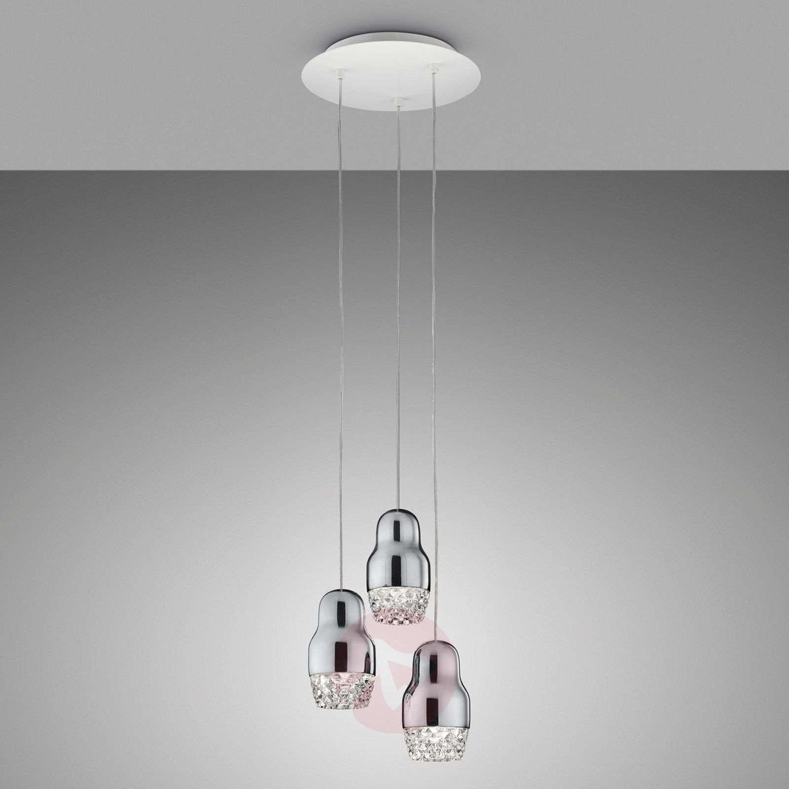 3-osainen kromivärinen Fedora-LED-riippuvalaisin-1088083-01