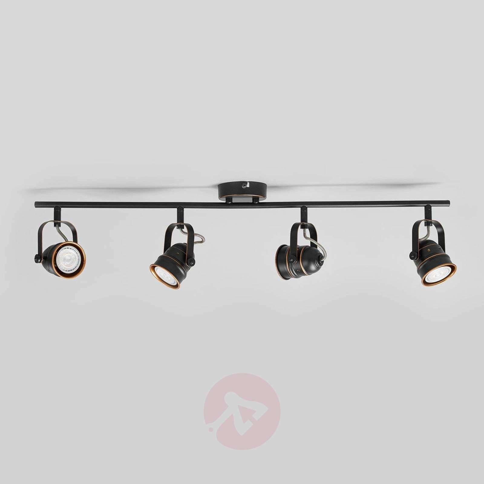 4-lamppuinen LED-kattolamppu Leonor, musta-kulta-9639068-01