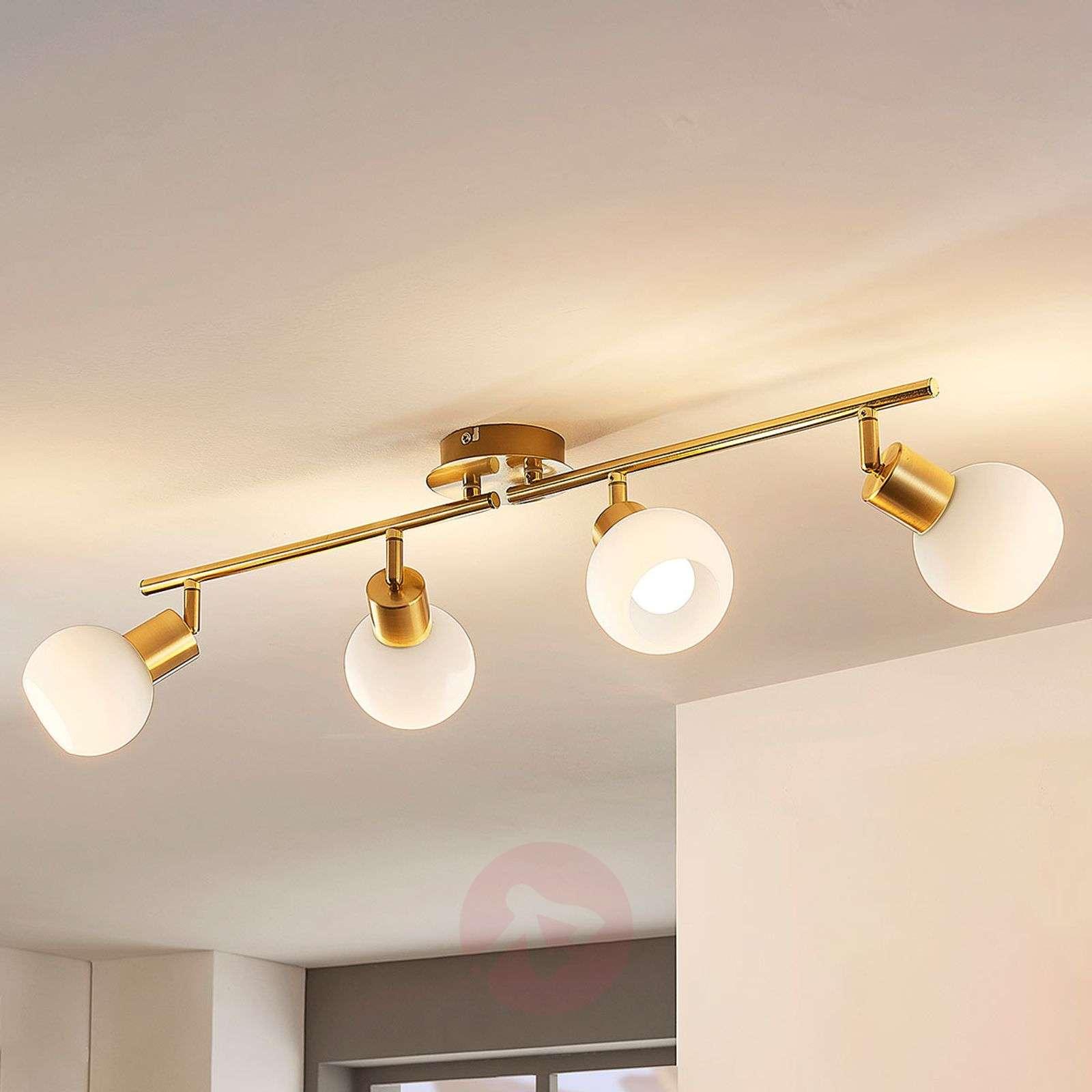 4-lamppuinen LED-kattovalaisin Elaina, messinki-9620024-02
