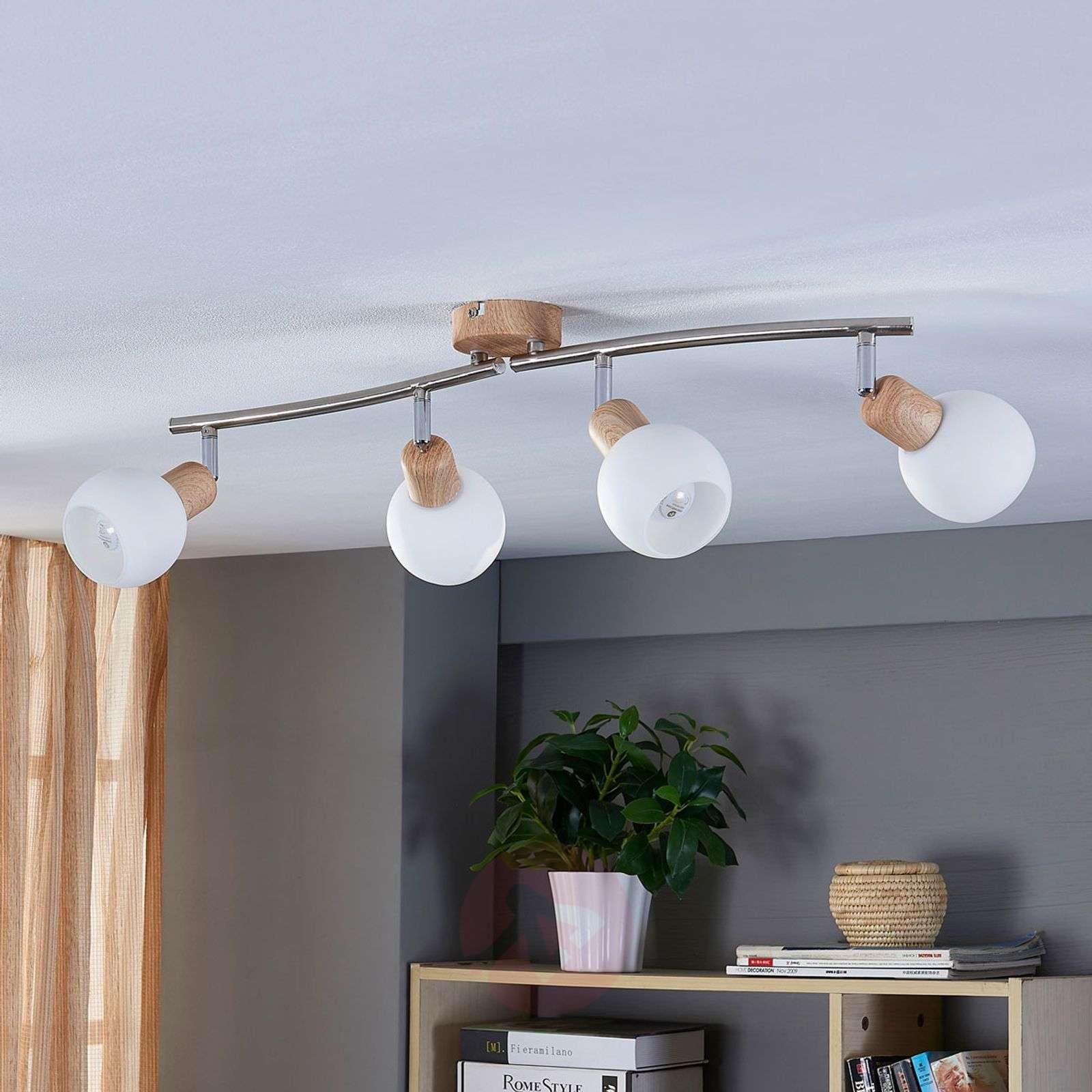 4-lamppuinen LED-kohdevalo Svenka, puupinta-9621050-02
