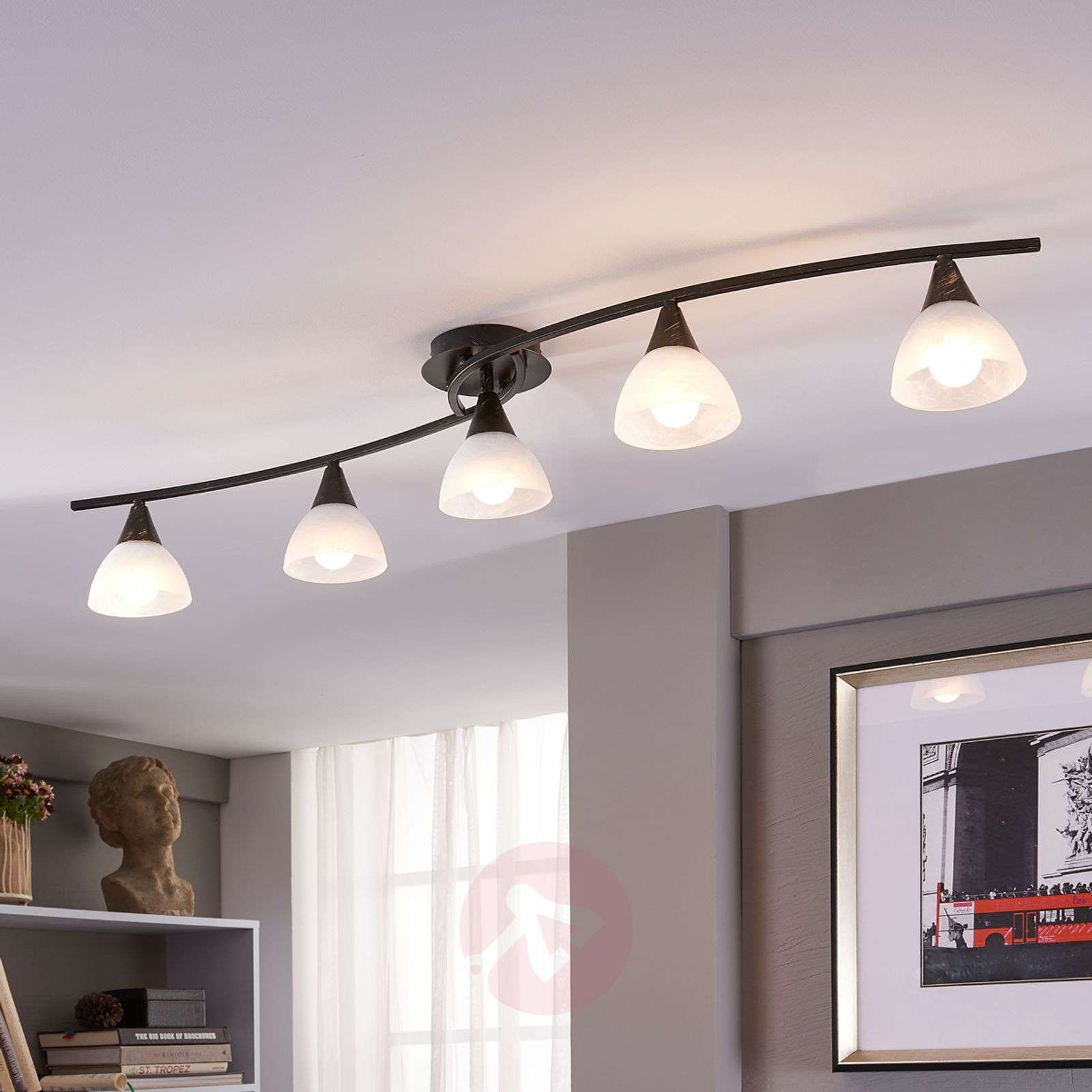5-lamppuinen LED-kattovalaisin Della, pitkänmall.-9620972-03
