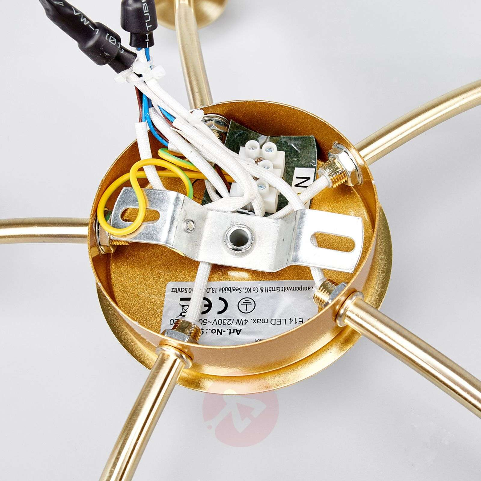 5-lamppuinen LED-kattovalaisin Elaina, messinki-9620035-01
