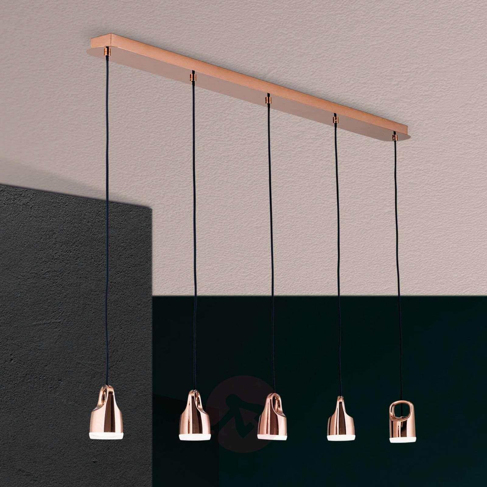5-lamppuinen LED-riippuvalaisin Tinus, kuparikulta
