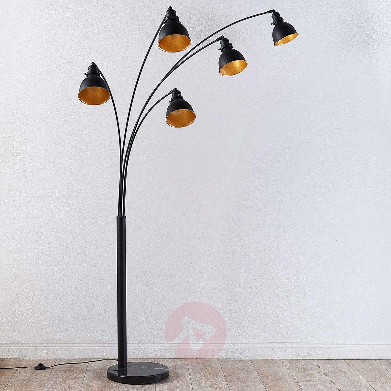 5-lamppuinen Lira-lattiavalaisin, musta ja kulta-9621140-02