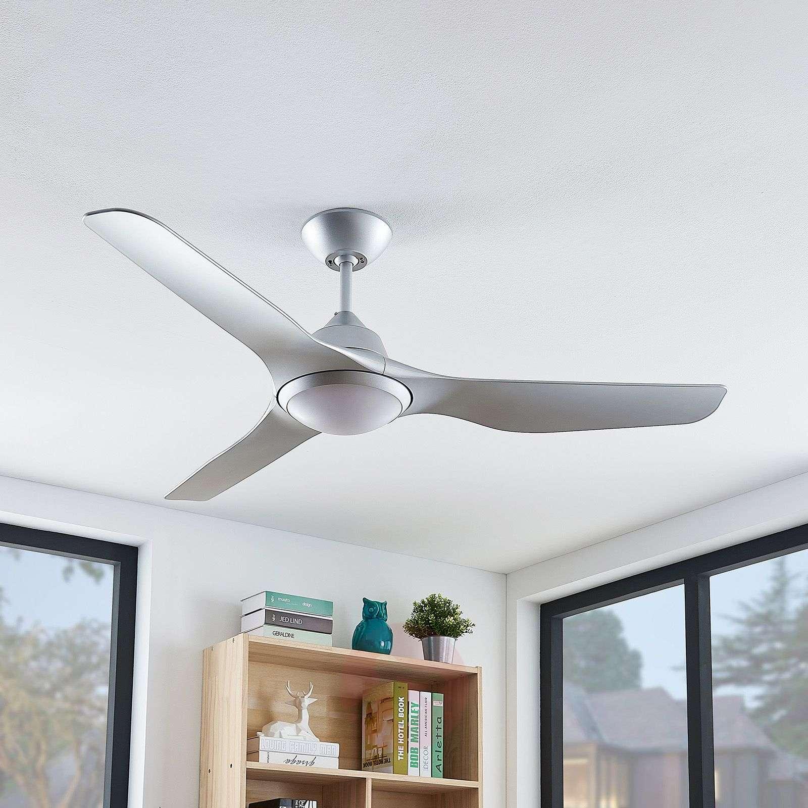 Arcchio Dora LED-kattotuuletin, 5 siipeä, hopea-9624669-02