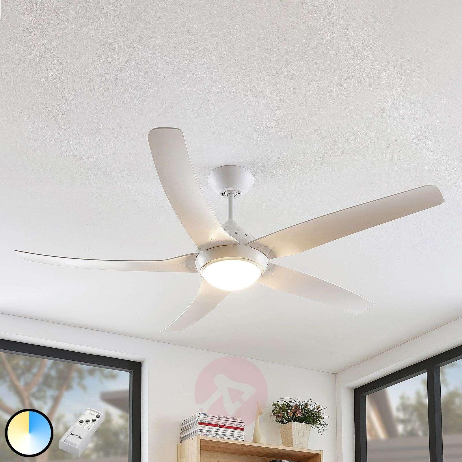 Arcchio Dora LED-kattotuuletin, 5 siipeä, valk-9624668-02