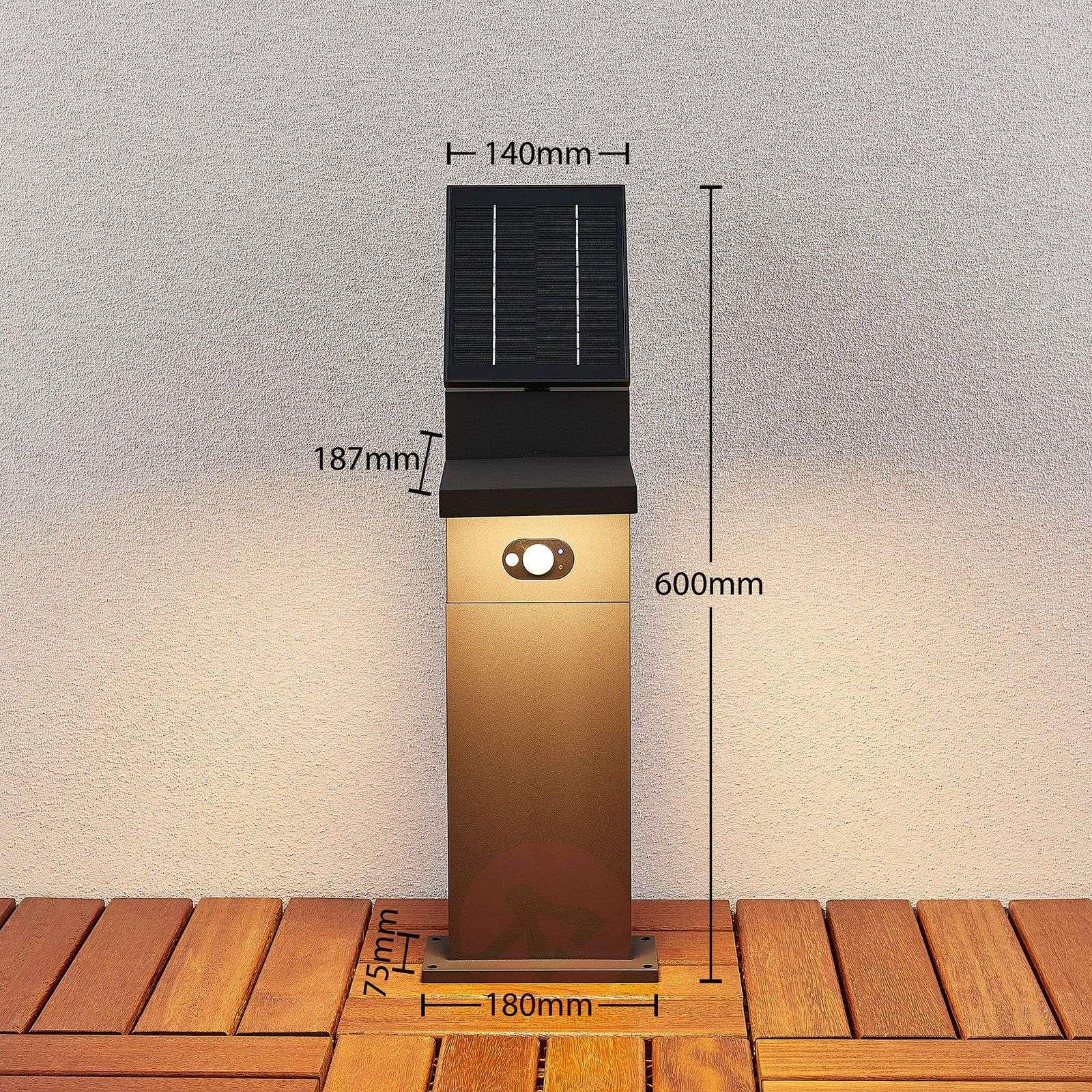 Aurinkokäyttöinen LED-pylväsvalaisin Silvan, 60 cm-9619180-03