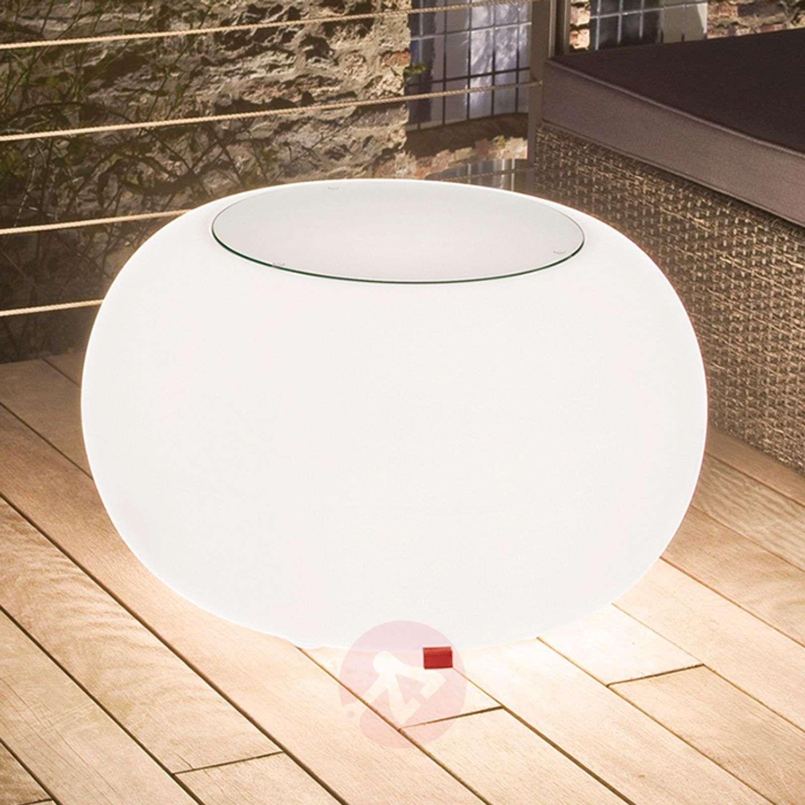 Bubble Outdoor pöytä, valo valkoinen + lasilevy-6537063-01