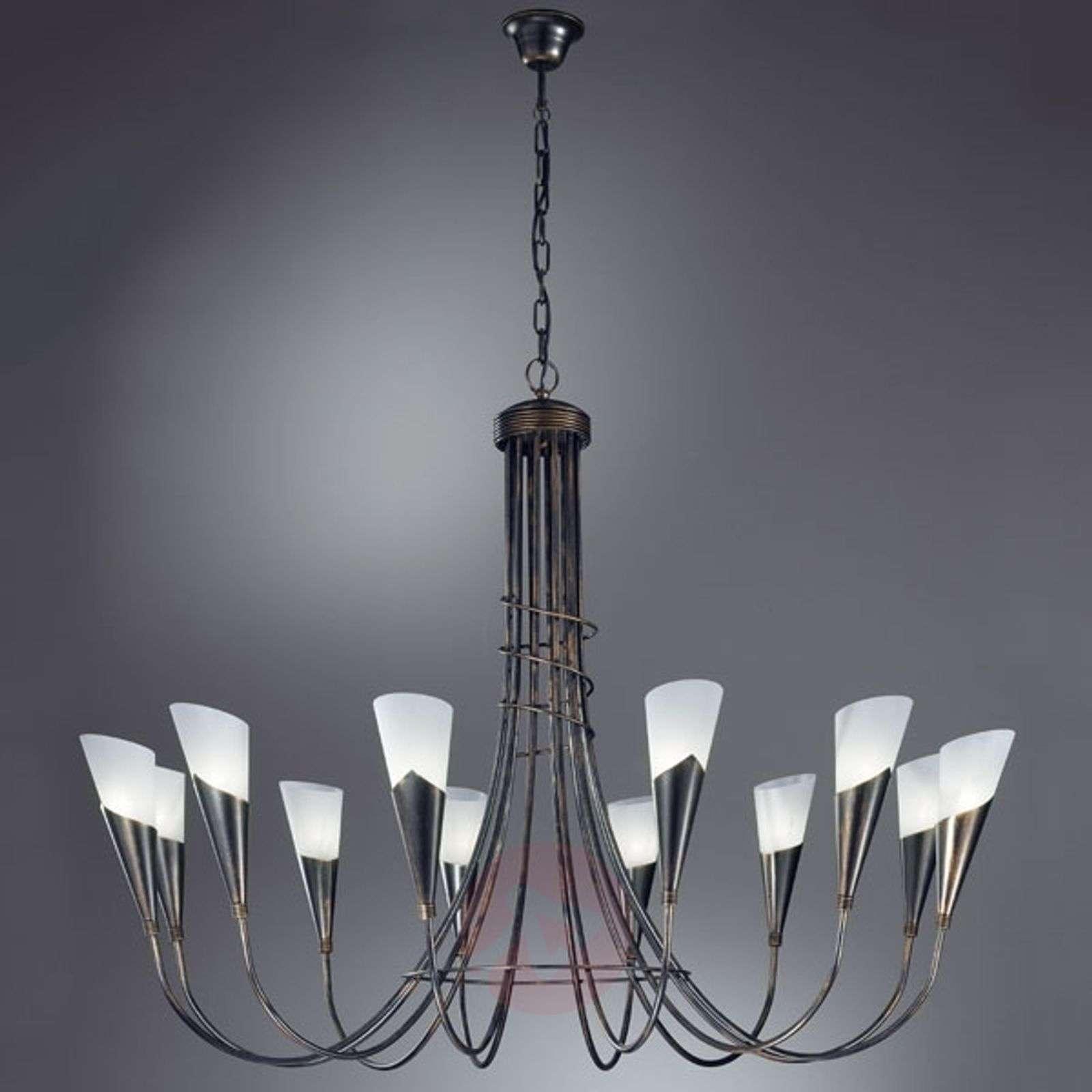 CAMPAGNOLA-kattokruunu 12-lamppuinen musta-kupari-5505165-01