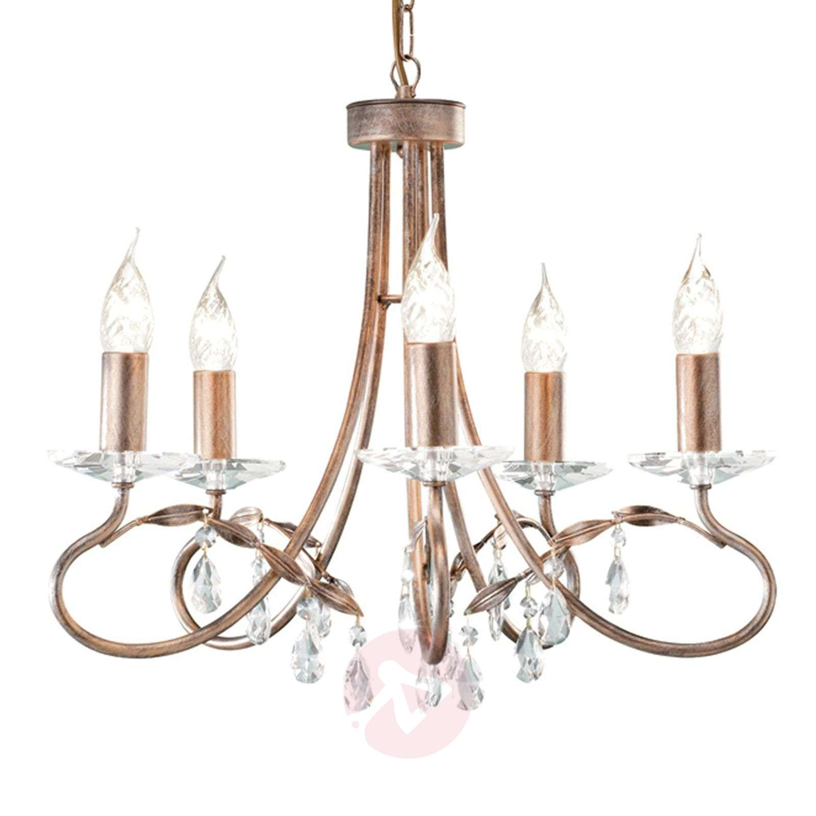 CHRISTINA-kattokruunu, hopeaa ja kultaa, 5 lamppua-3048001-01