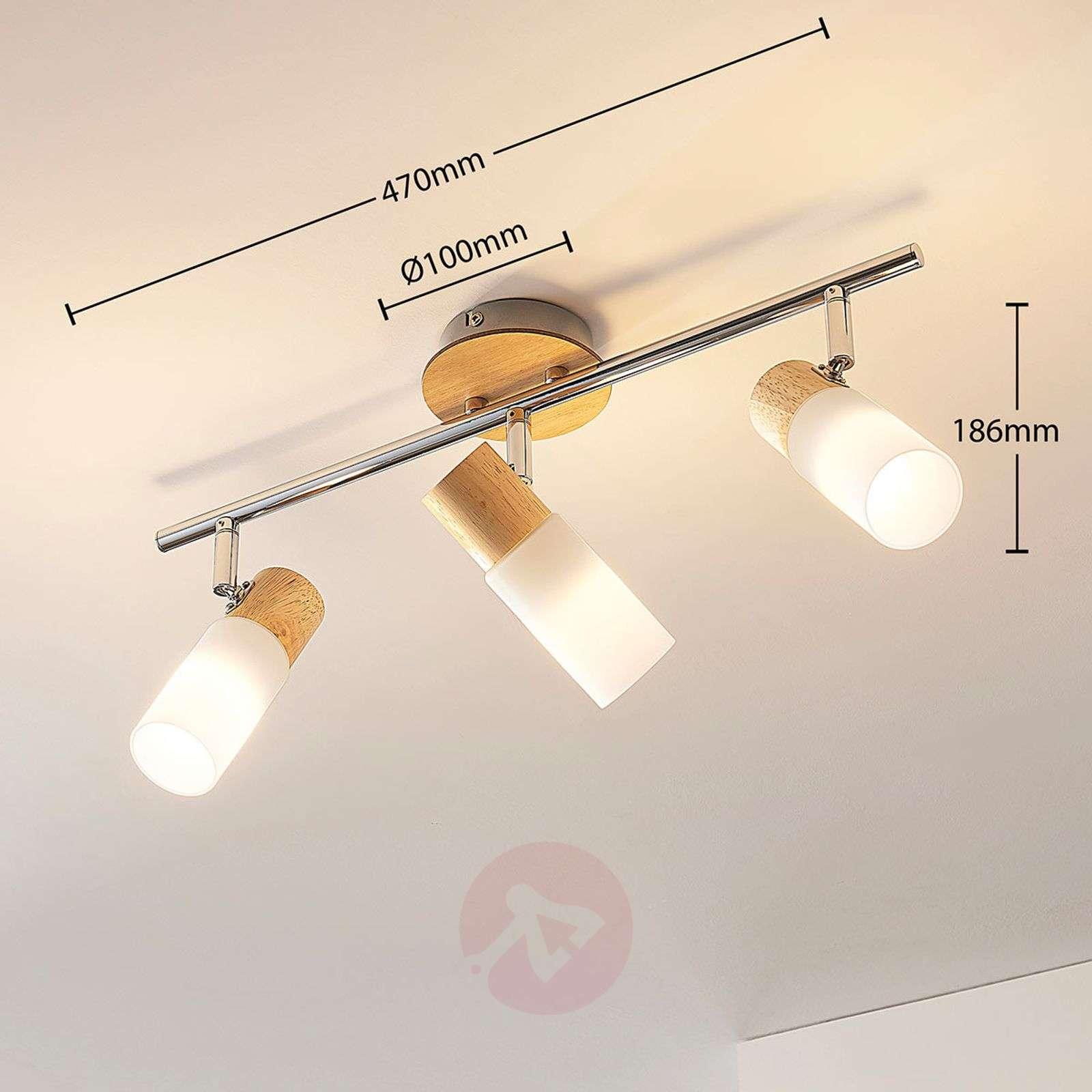 Christoph – 3-lamppuinen LED-kattokohdevalo, puuta-9621825-012