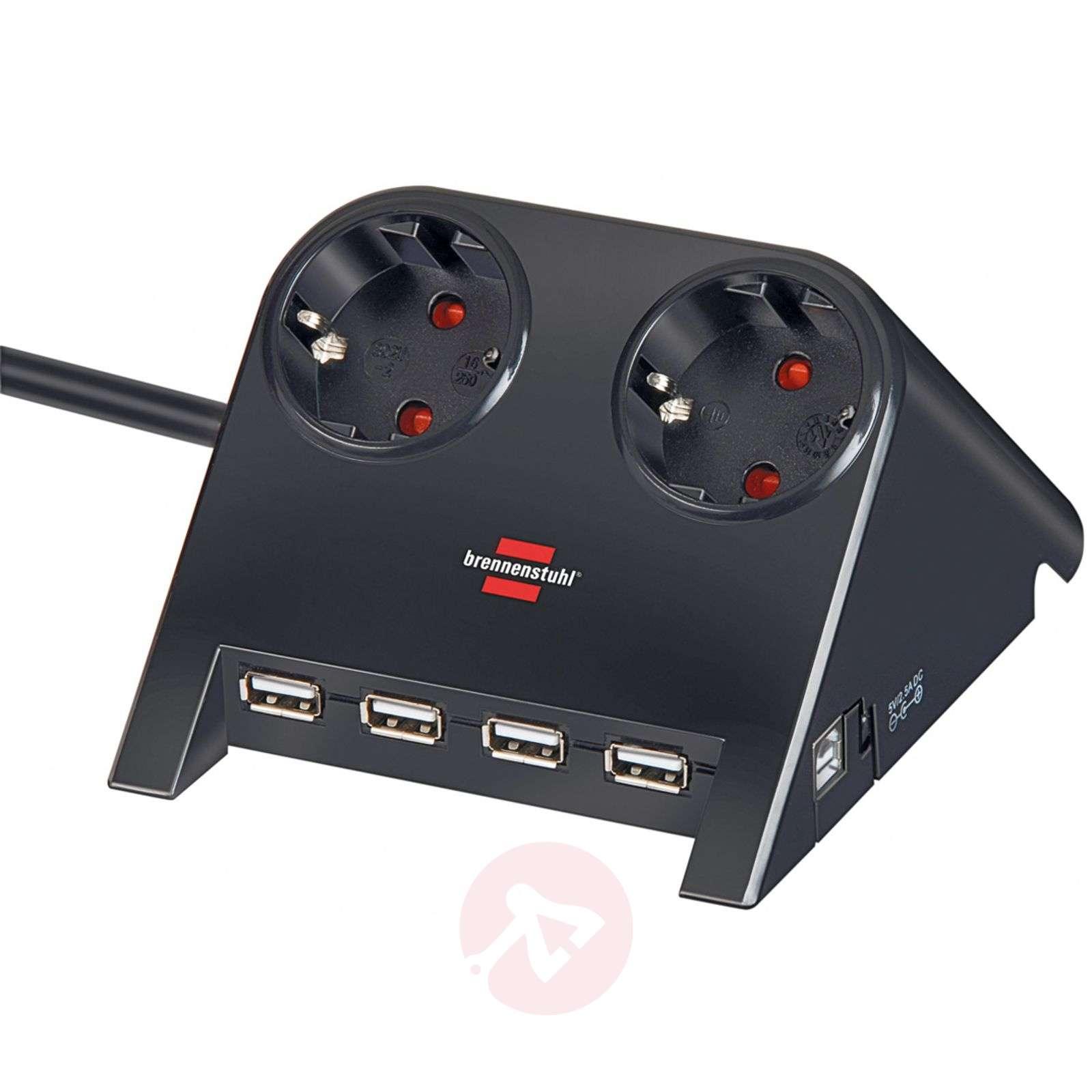 Desktop-Power-jakopistorasia, USB-liitäntä, musta-1540138-01