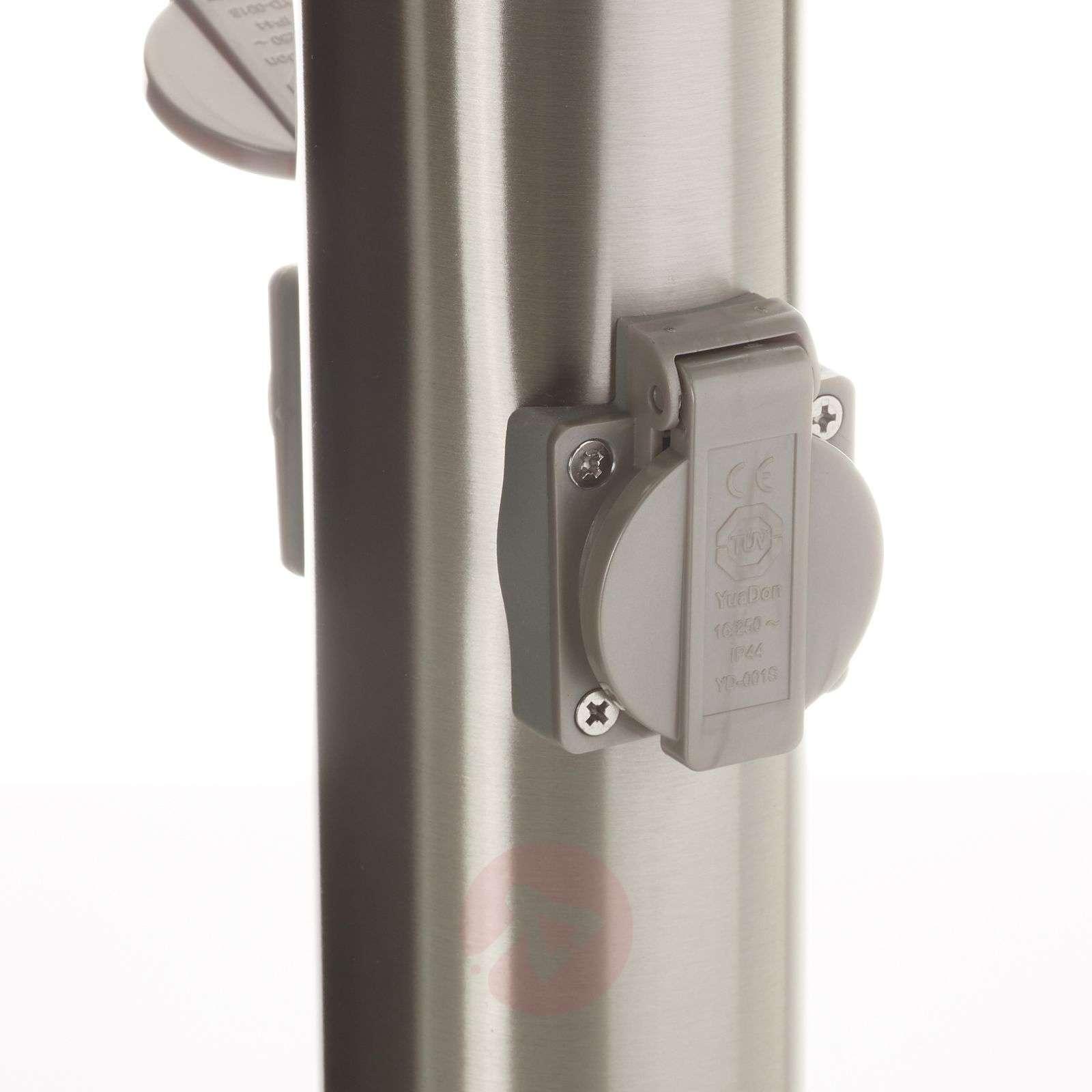 Elenor-LED-pylväsvalo ruost. teräs, 2 pistorasiaa-4014966-01