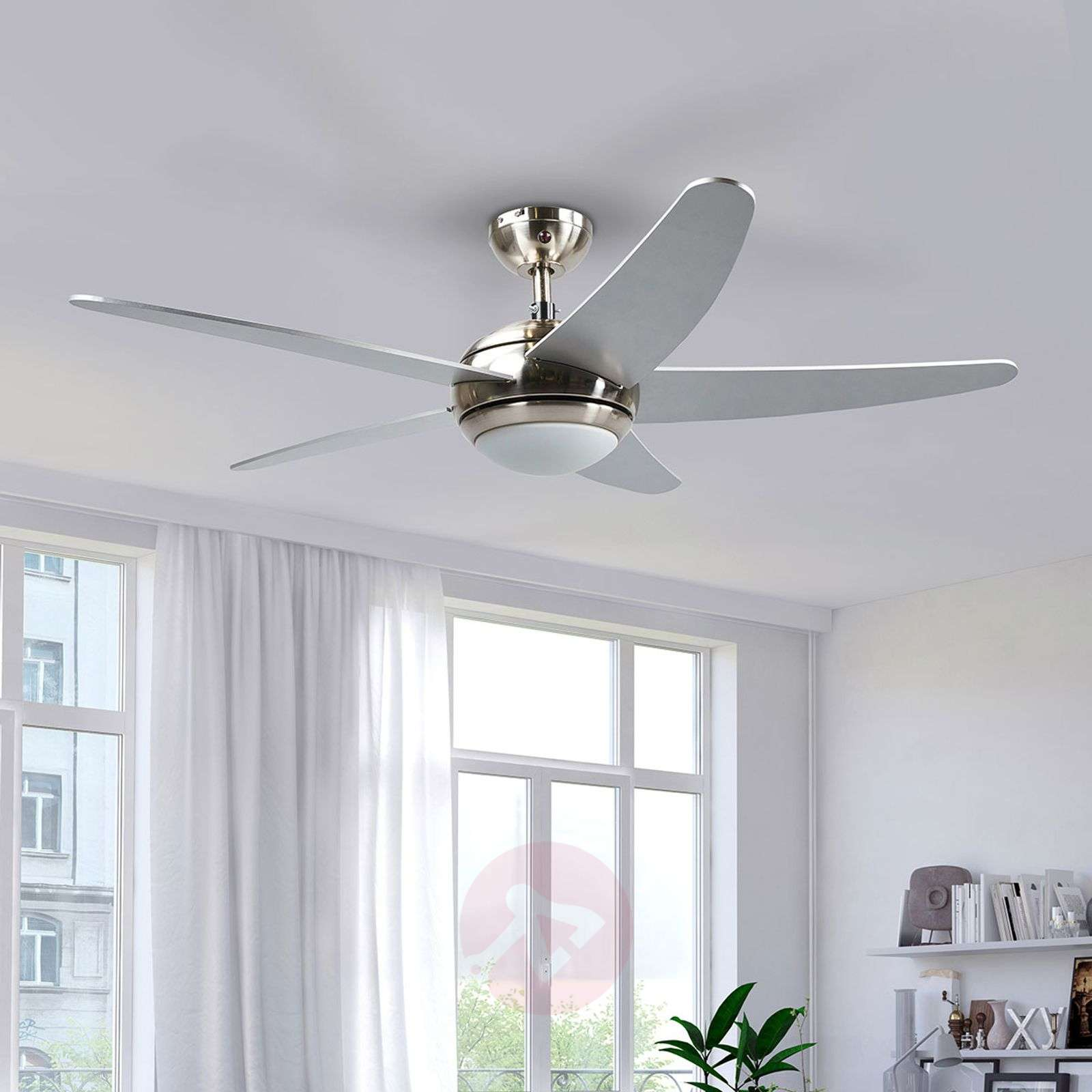 Hopeanvärinen, LED-valaistu kattotuuletin Anneka-4018094-010