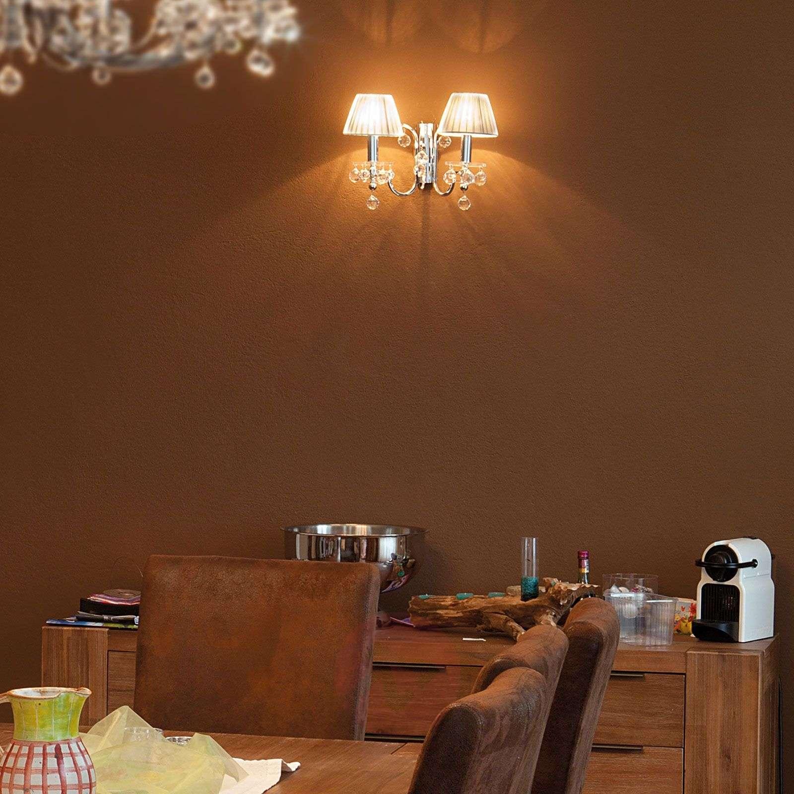 Hopeinen tekstiiliseinävalaisin, kristallit 2-lamp-7254993-01