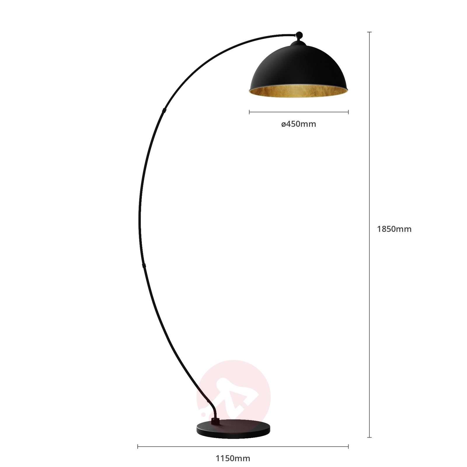 Kaareva Jonera-lattiavalaisin, musta ja kulta-9621154-02