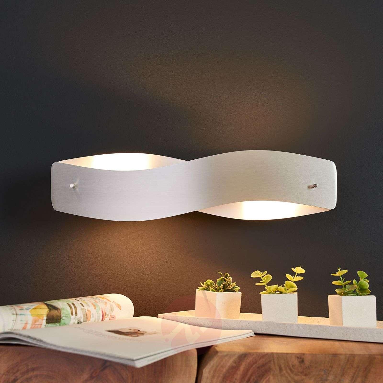 Kaareva LED-seinävalaisin Lian, matta alumiini-6722421-01
