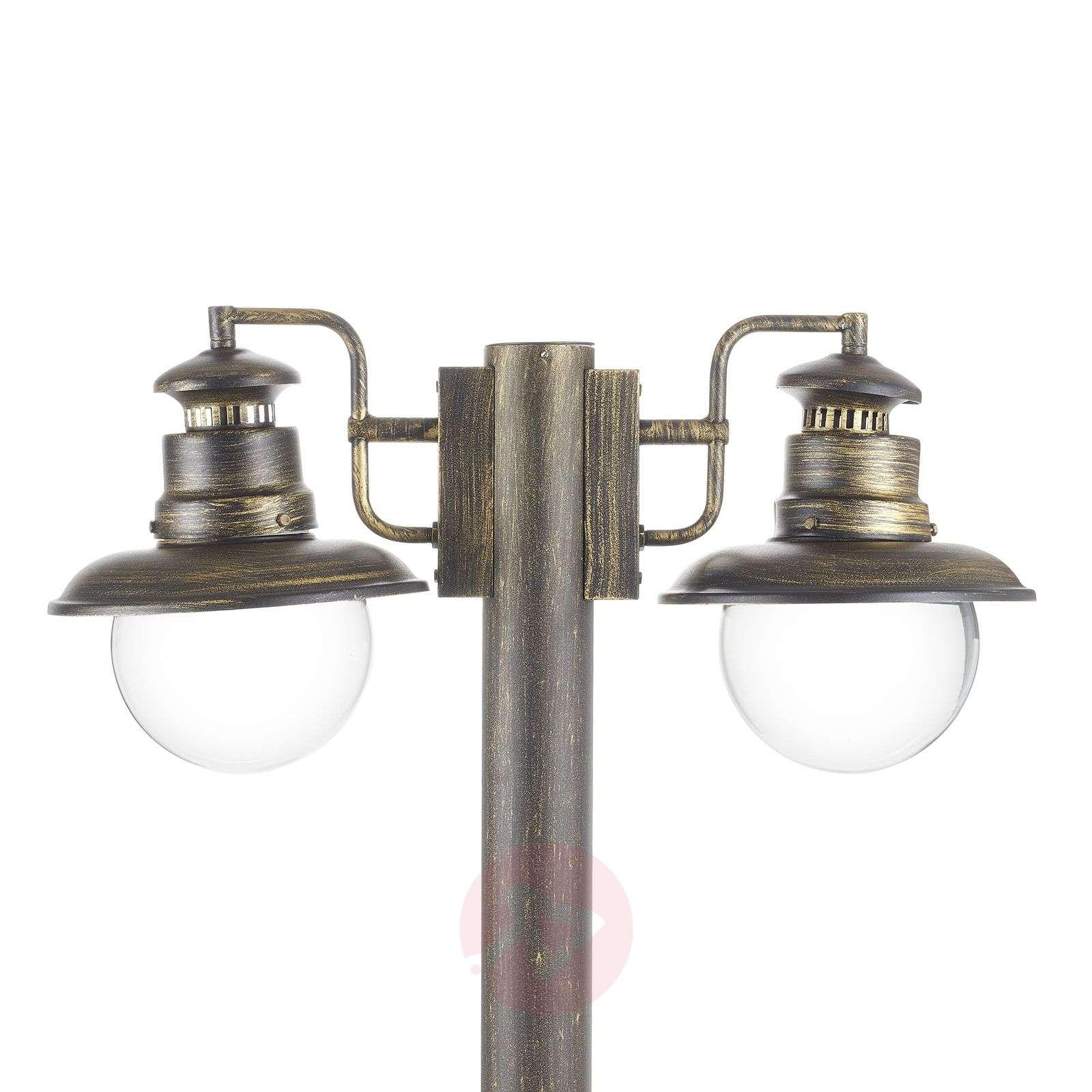 Kaksilamppuinen Artu-pylväsvalaisin, musta-kulta