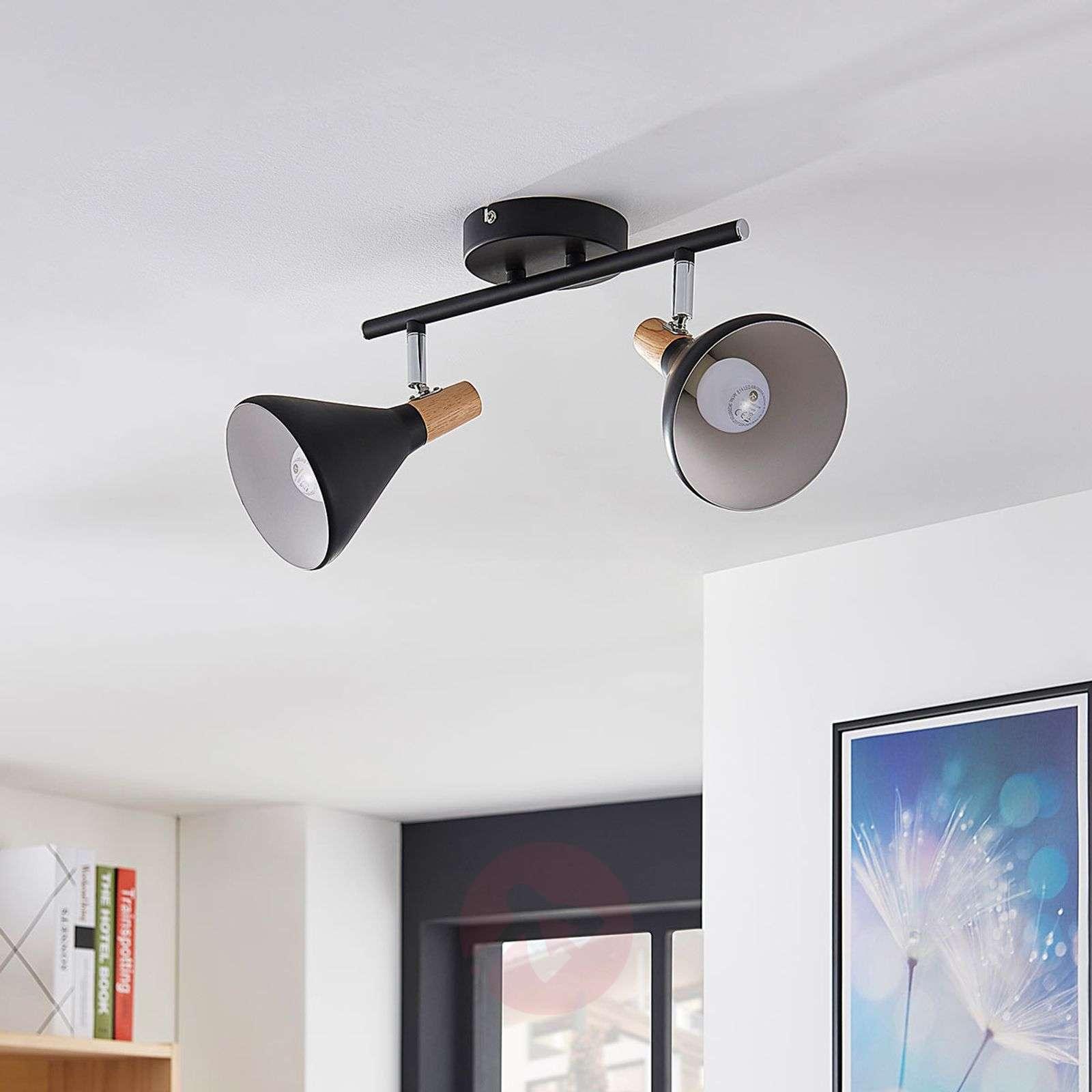 Kaksilamppuinen LED-kattovalaisin Arina, musta-9621811-02