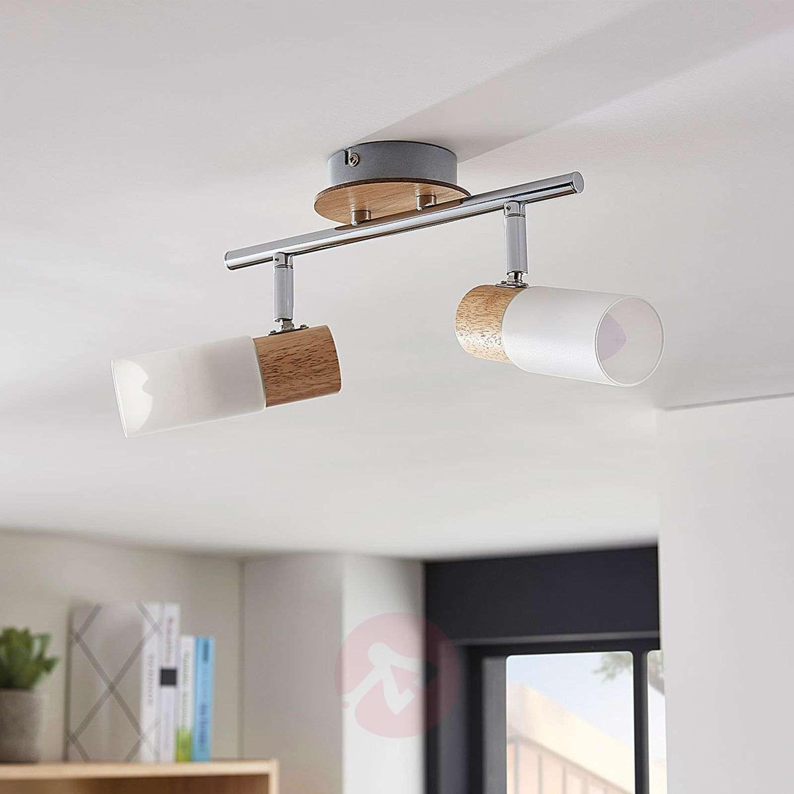 Kaksilamppuinen LED-kohdevalaisin Christoph, puuta-9621824-012