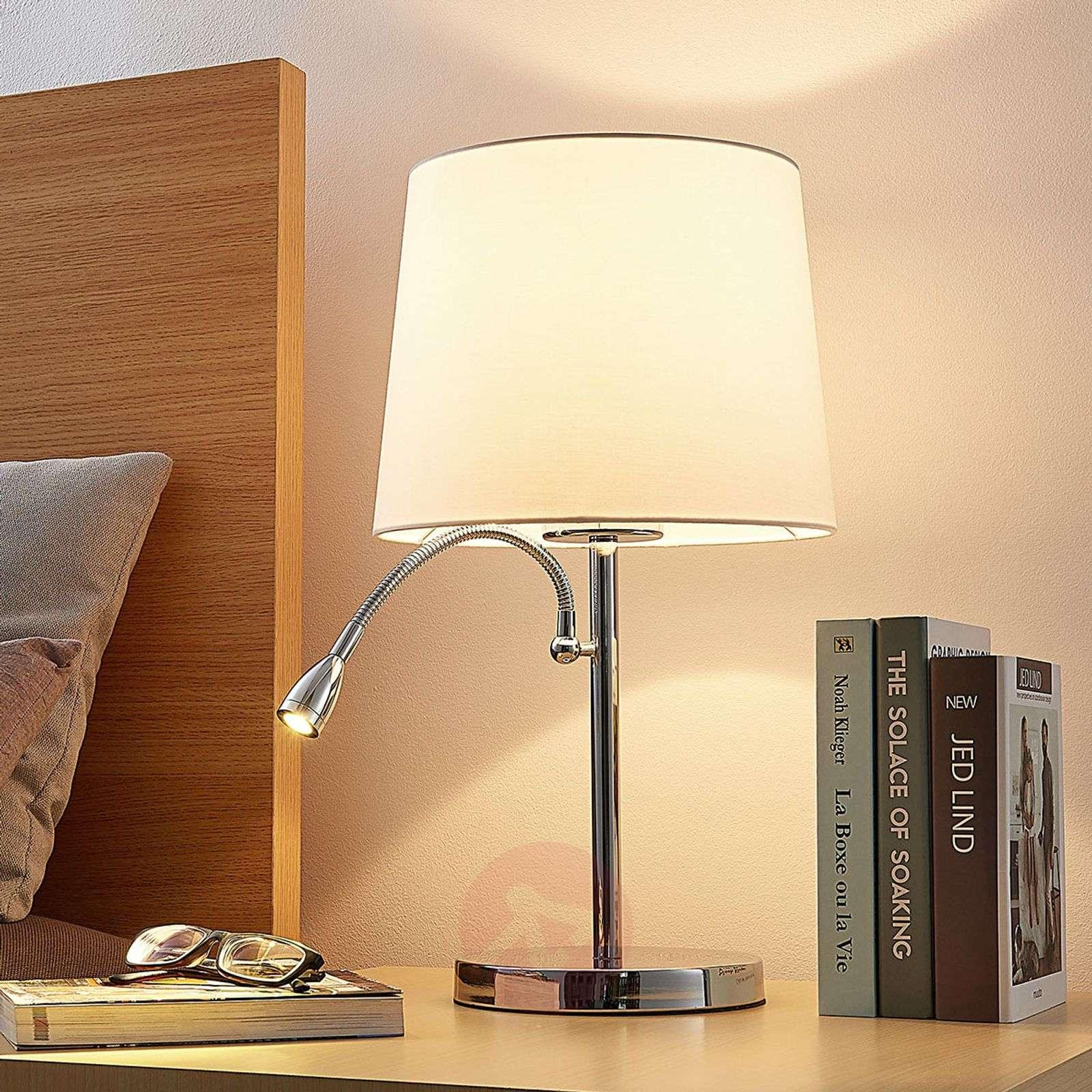 Kankainen pöytävalaisin Benjiro, LED-lukuvalolla