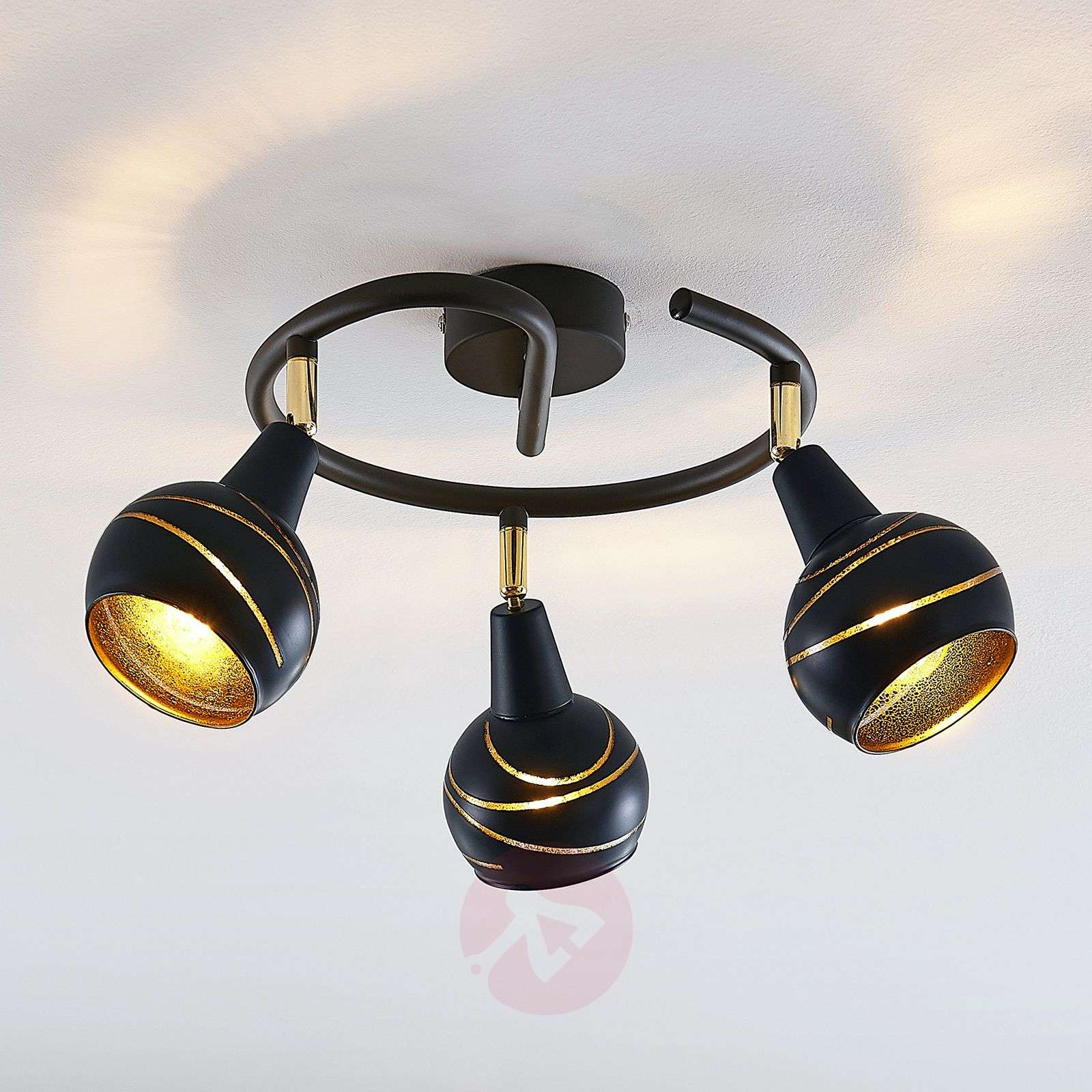 Kattolamppu Lynette, musta-kulta, 3-lamp. spiraali-4018200-01