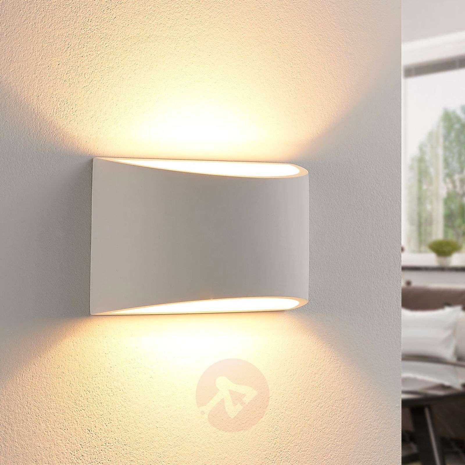 Kauniin muotoinen LED-seinävalaisin Heiko, kipsiä-9621352-02