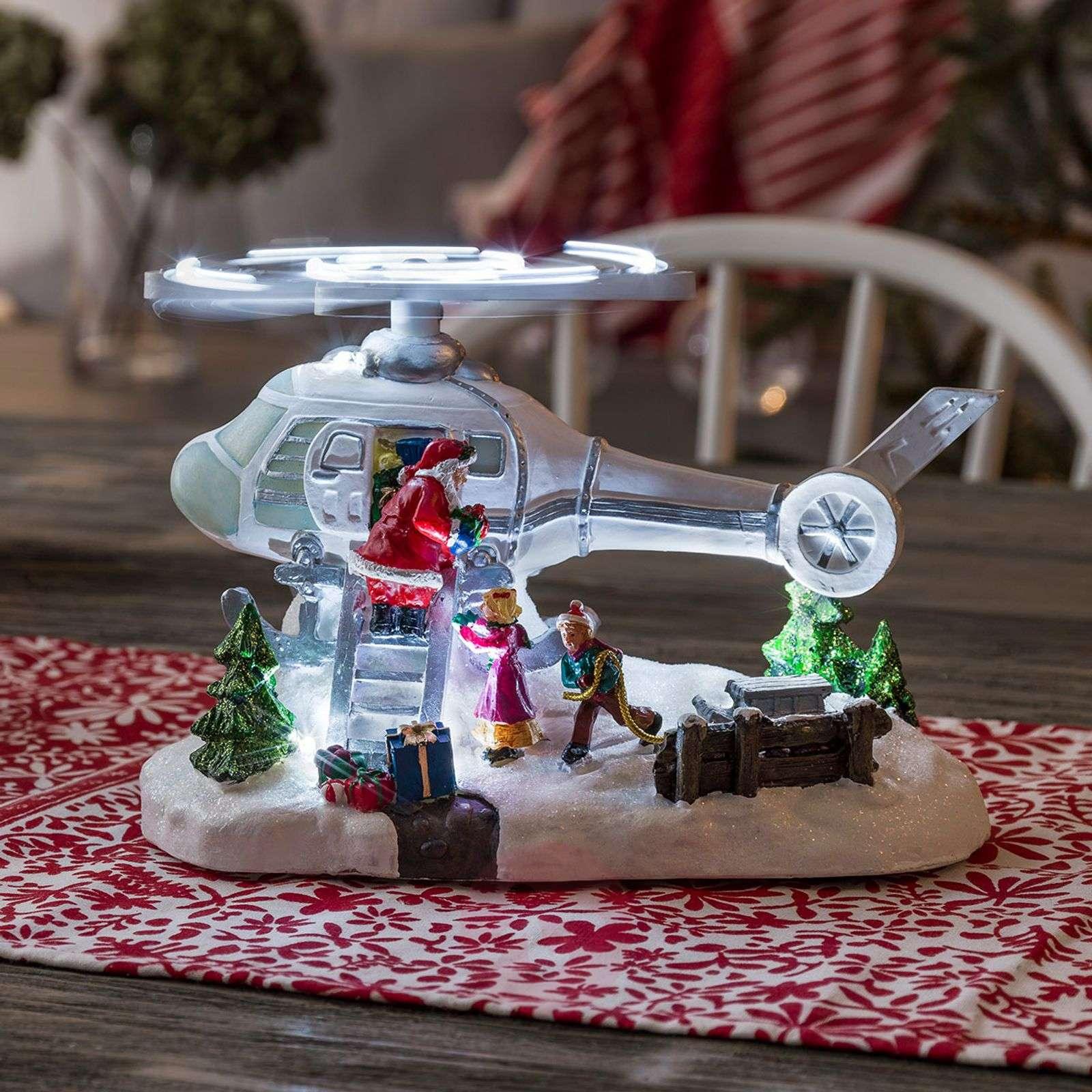 Kaunis LED-maisema helikopteri ja joulupukki-5524858-01
