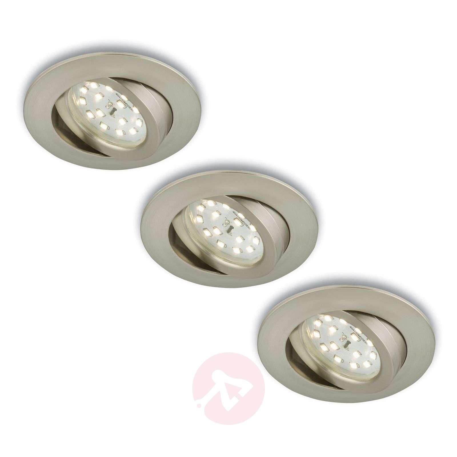 Kierrettävä LED-uppokohdevalo, 3 kpl, mattanikkeli-1510288-01