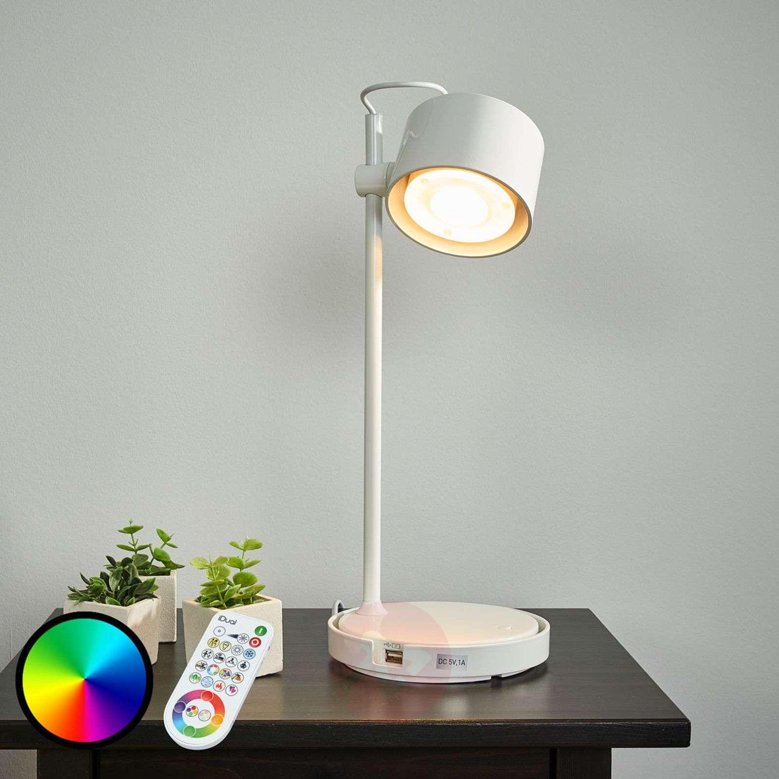Kiiltävänvalkoinen LED-pöytävalaisin Jasmine iDual-9038033-01