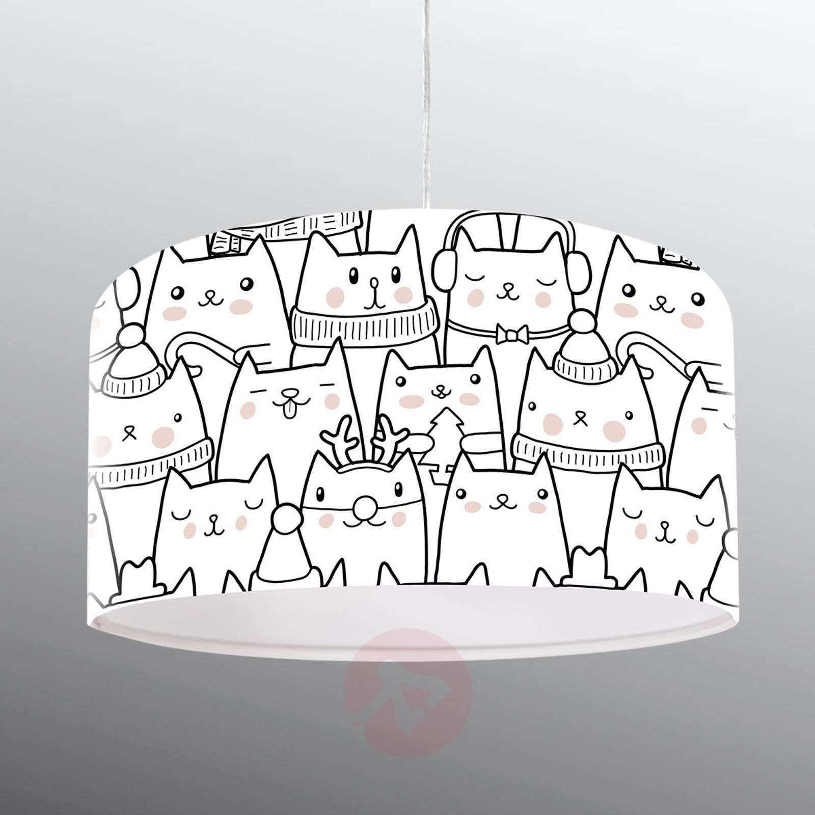 Kissamotiivilla painatettu riippuvalaisin Cats-6728075-01