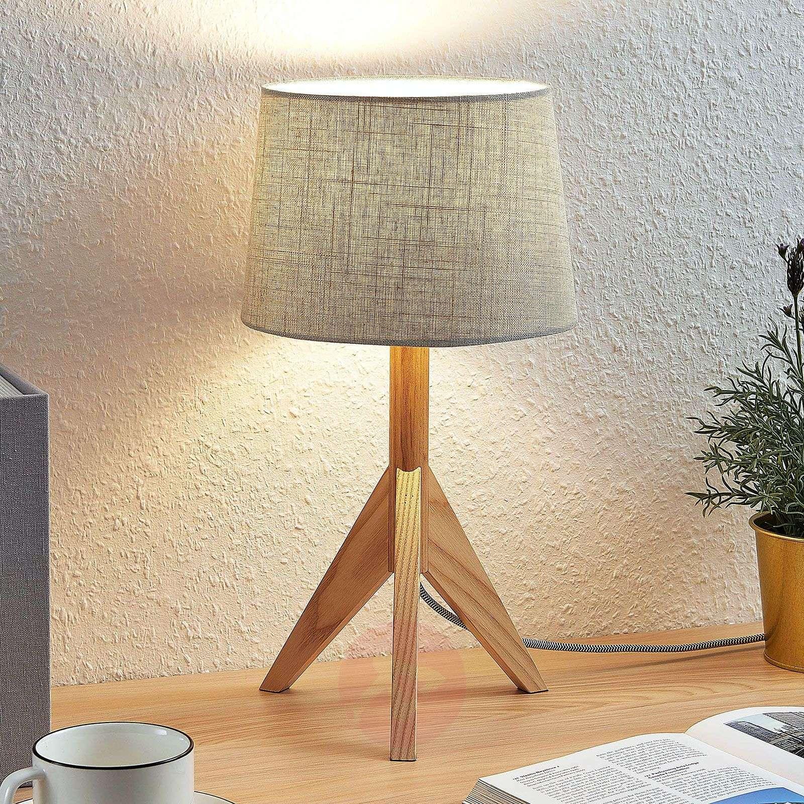 Kolmijalk. pöytälamppu Rhysand pyöreä v.harmaa-9624422-01