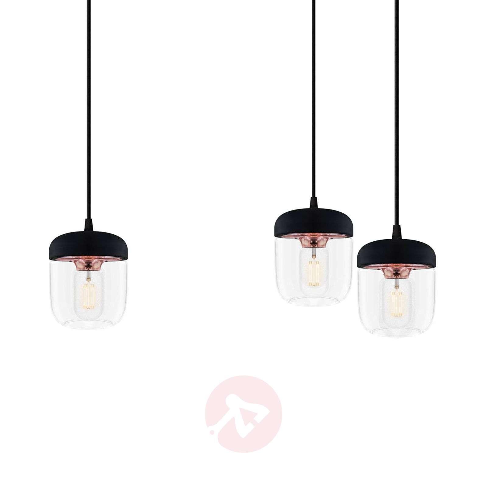 Kolmilamppuinen riippuvalaisin Acorn musta, kupari-9521098-01
