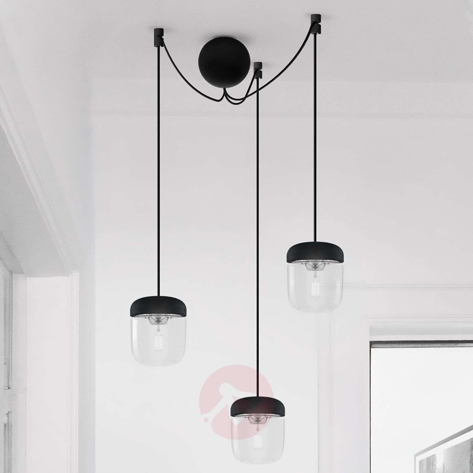 Kolmilamppuinen riippuvalaisin Acorn, musta, teräs-9521096-01