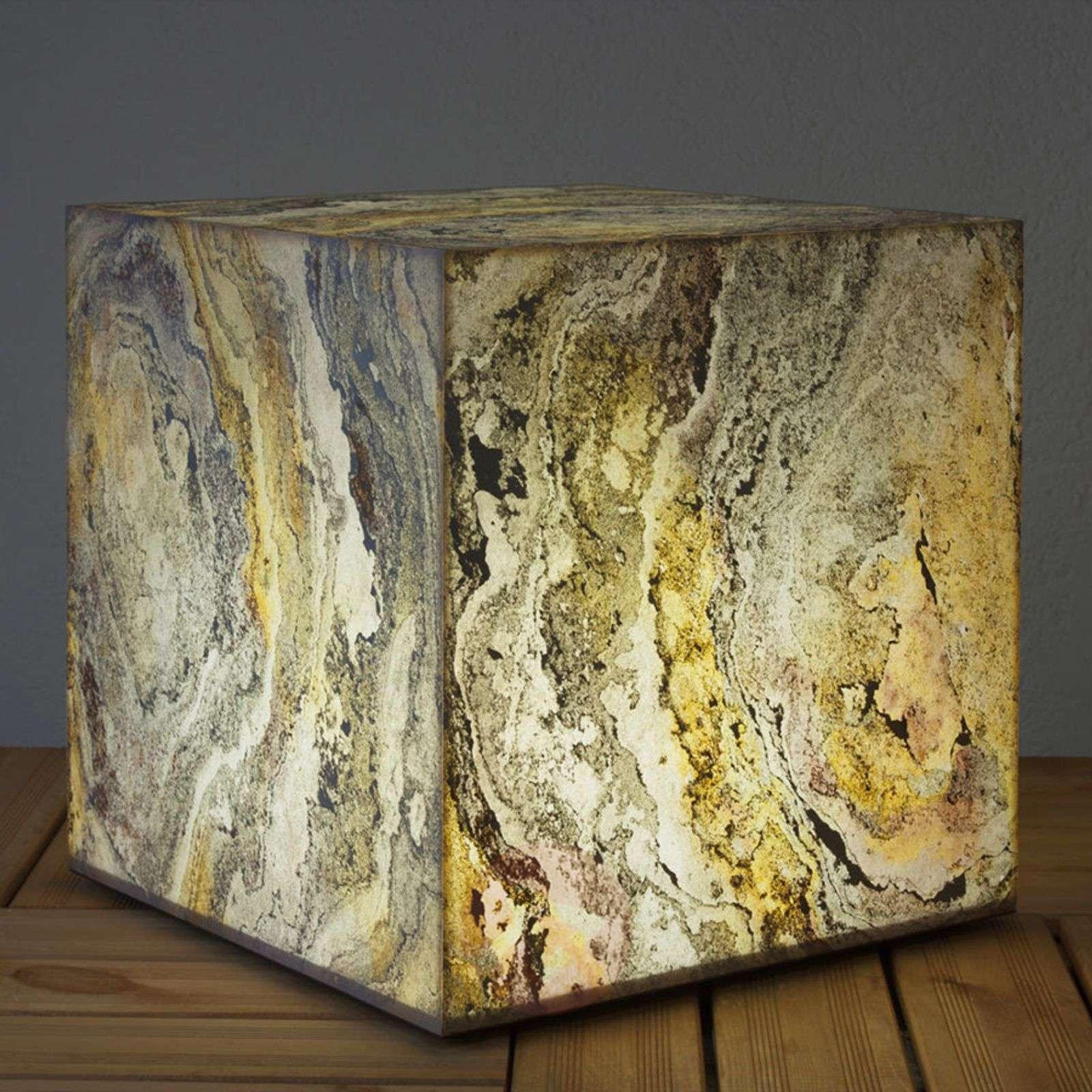 Koristeellinen luonnonliuske kuutiovalaisin-3050143X-01