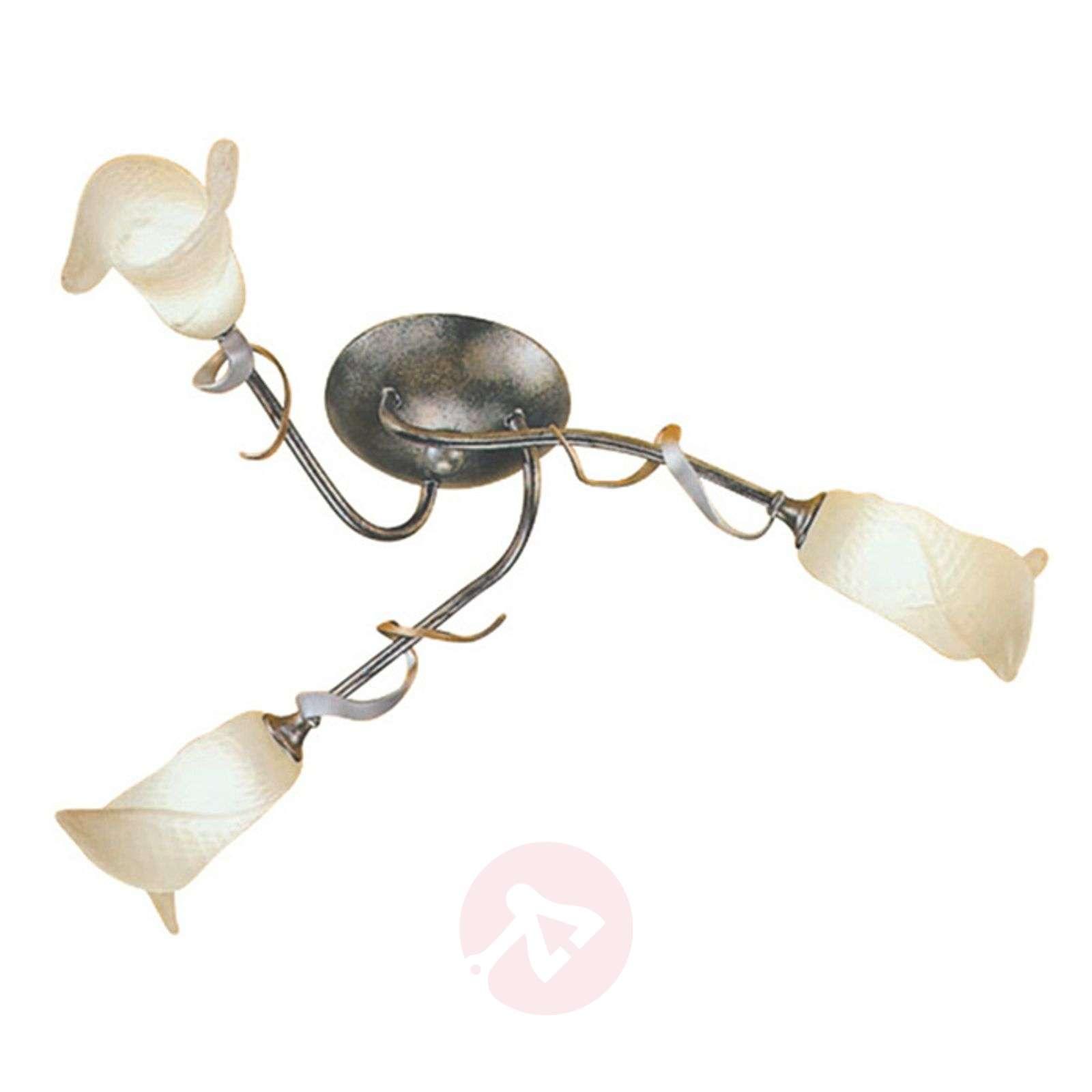 Kukilla koristeltu FLY-kattovalaisin, 3 lamppua
