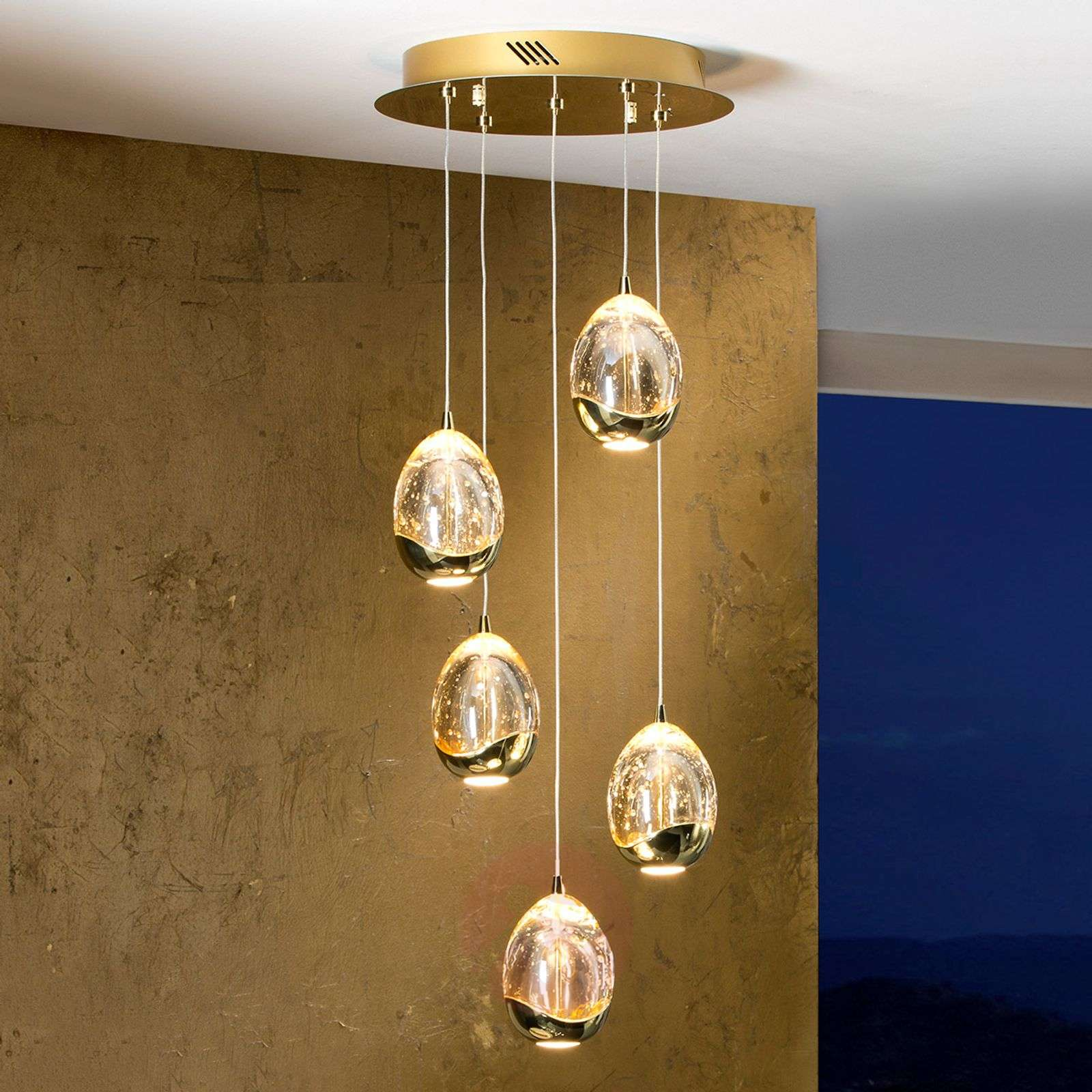 Kullanvärinen, 5-osainen Rocio-LED-riippuvalaisin-8582203-01