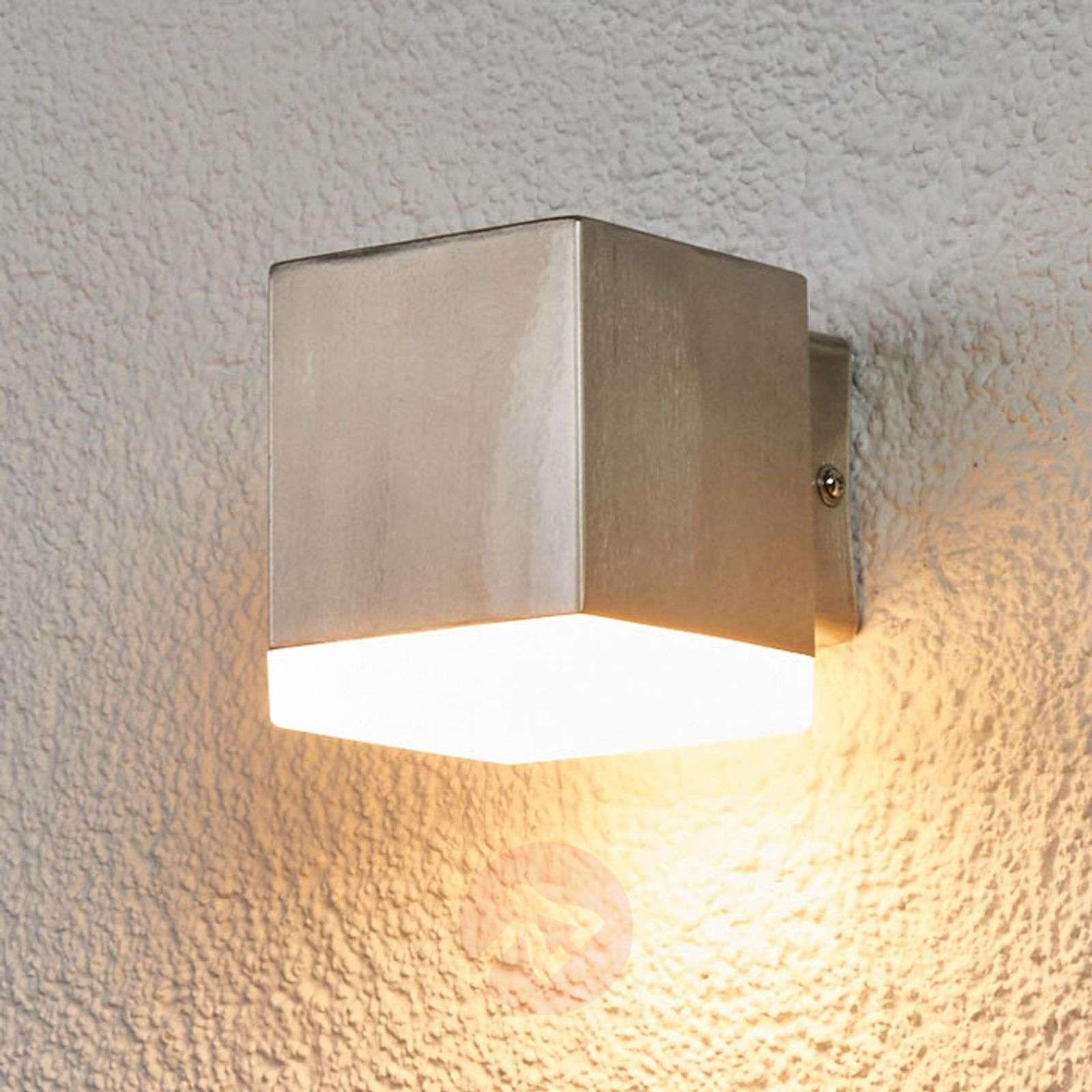 Kulmikas LED-ulkoseinävalaisin Hedda, ruostumaton-9988086-03