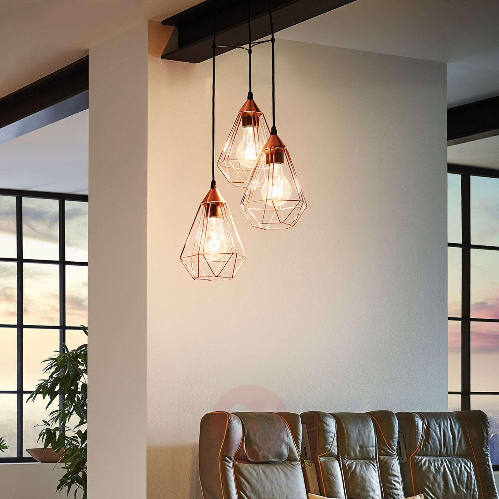 Kuparinvärinen Tarbes-riippuvalaisin 3-lampp.-3031863-01